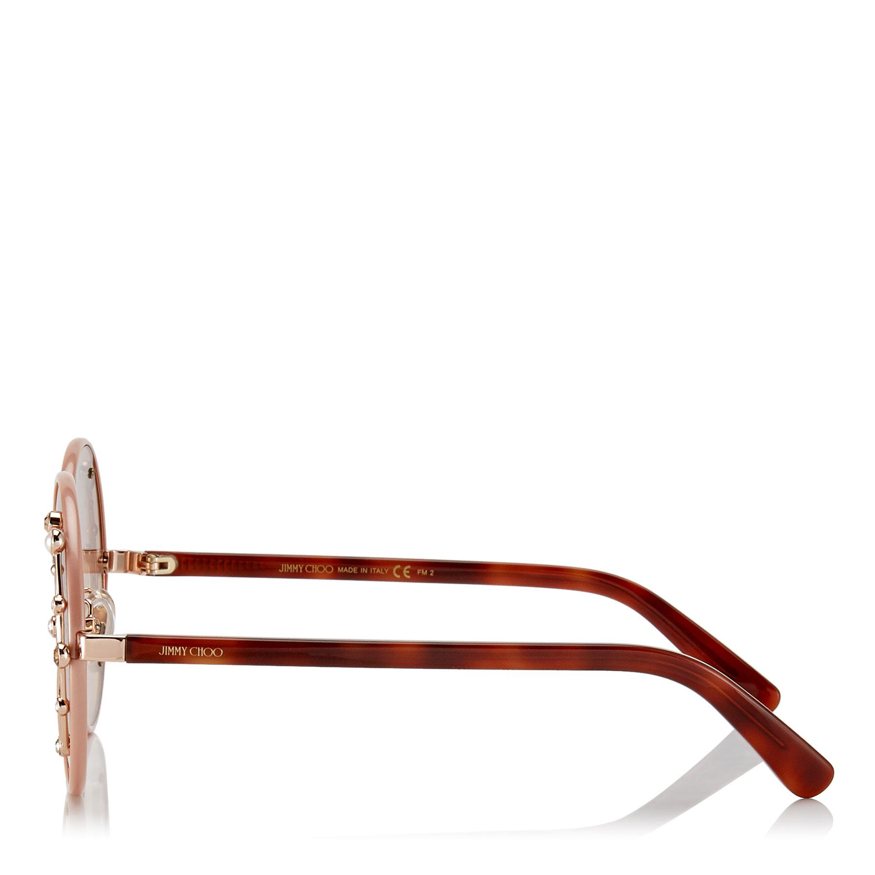 ab615798a0c5 Lyst - Jimmy Choo Gema Nude Round Shaped Metal Sunglasses With ...