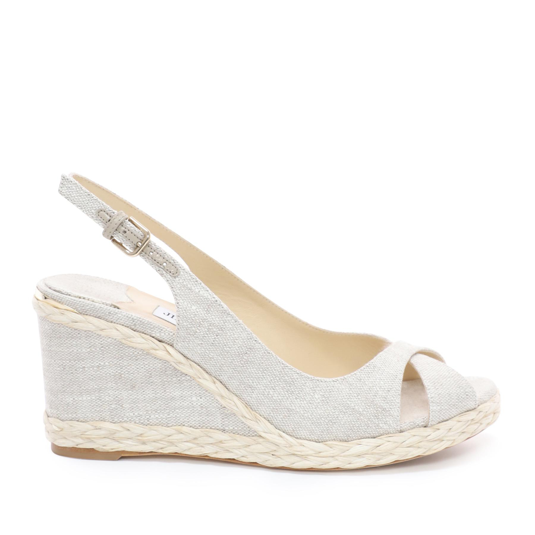 88e7b934672d Jimmy Choo. Women s Amely 80 Natural Linen Wedges With Braid Trim