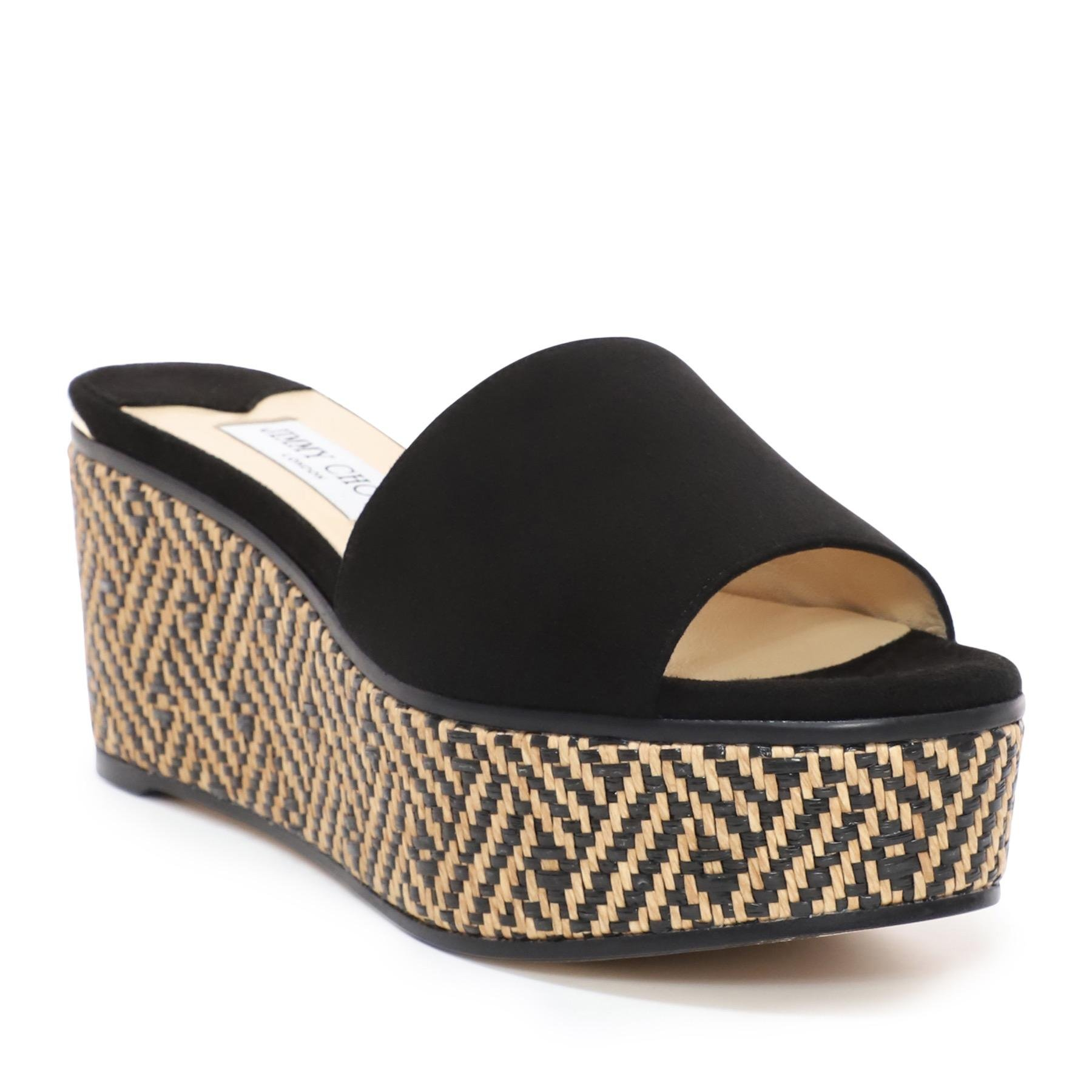 new collection amazing price retail prices Braided Raffia And Suede Mule Wedges