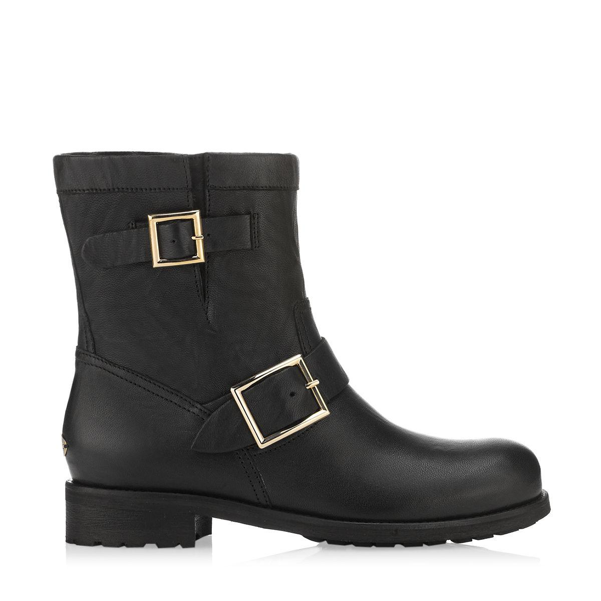 Jimmy Choo Leather Youth Buckled Biker Boot in Black - Save 17%
