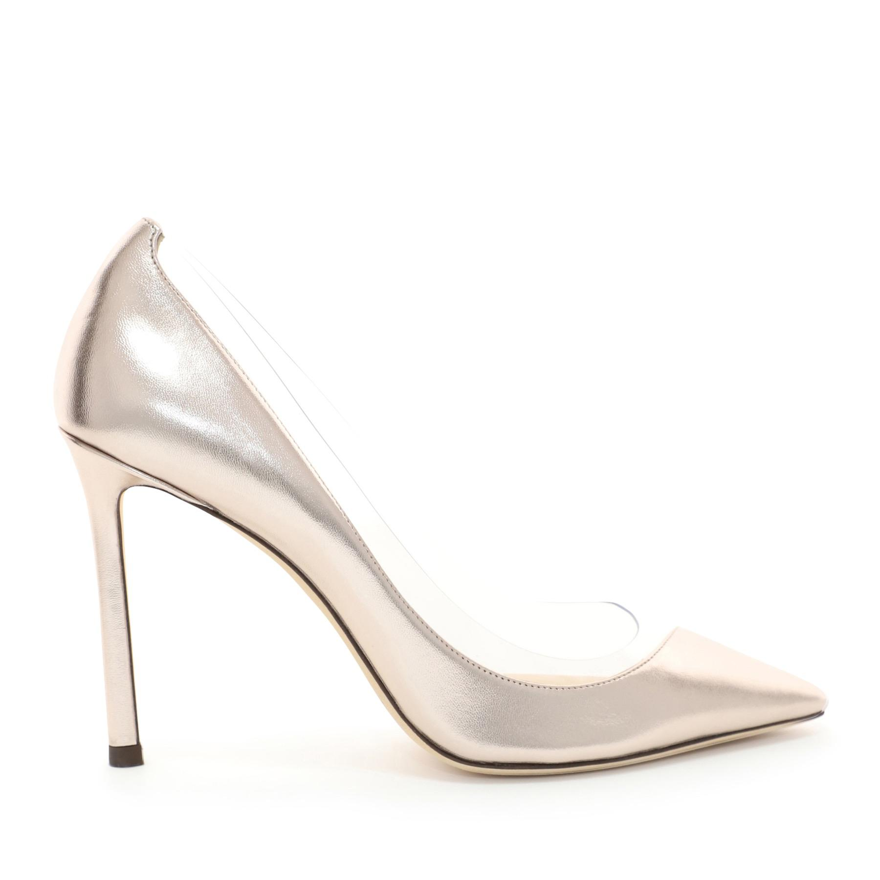 5c82c2d3c13 Jimmy Choo. Women s Romy 100 Platinum And Clear Pointy Toe Pumps In  Metallic Nappa And Plexi