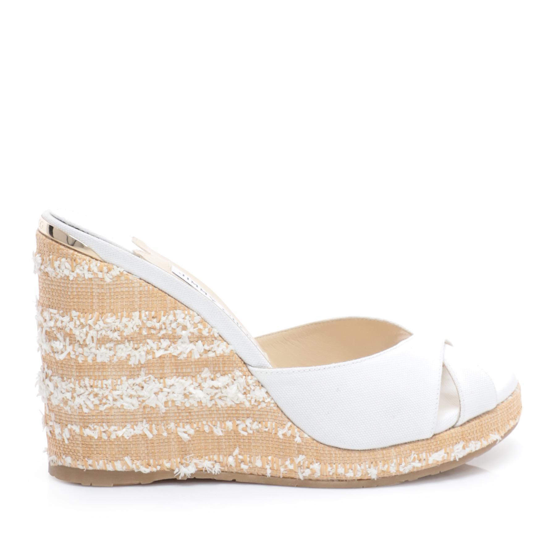 bf2124587c1 Lyst - Jimmy Choo Almer Wedge Sandals in White