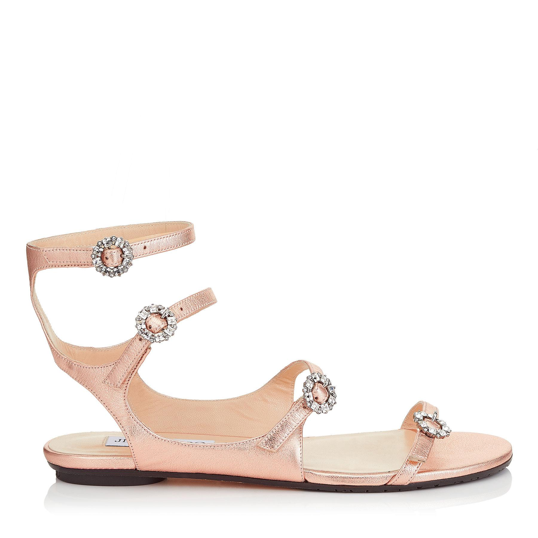 Sandals NAIA FLAT calfskin Crystal ornament Metallic rose Jimmy Choo London KITSaDKx