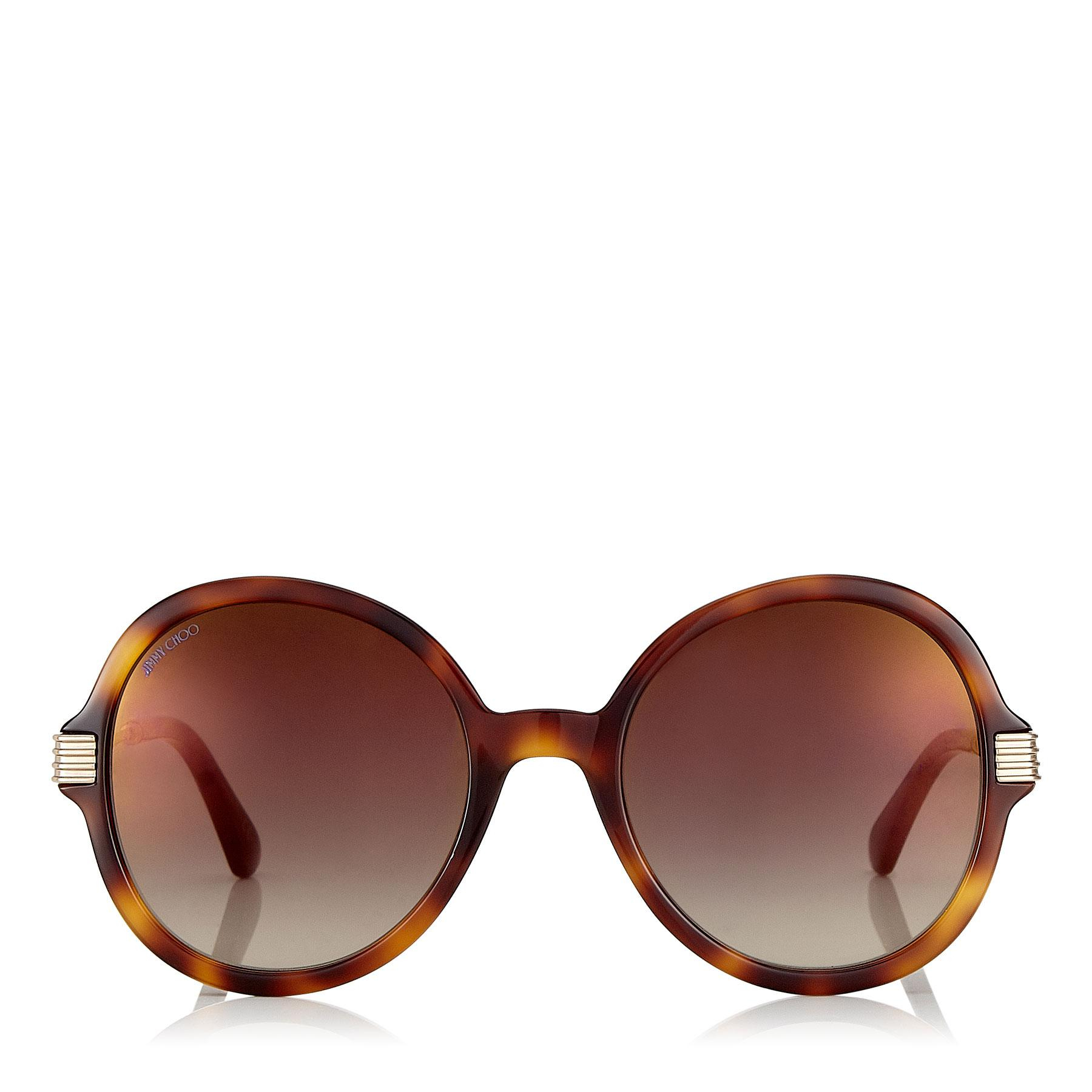 caf39d6d3c82 Lyst - Jimmy Choo Adria Dark Havana And Light Gold Round Framed ...