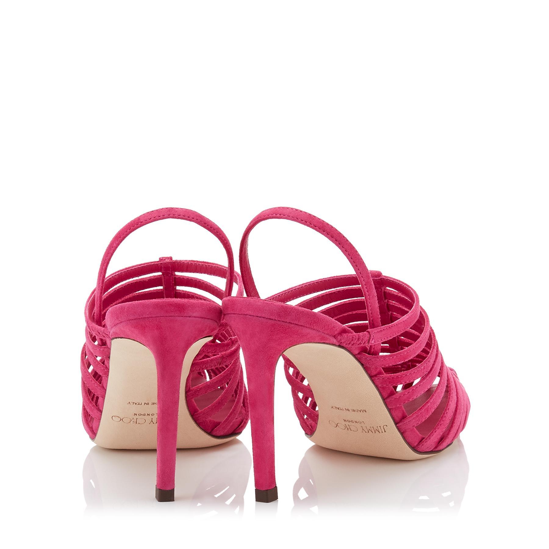 5ae53864d84 Jimmy Choo - Pink Thu 85 Raspberry Suede Sling Back Heel With Horizontal  Straps - Lyst. View fullscreen