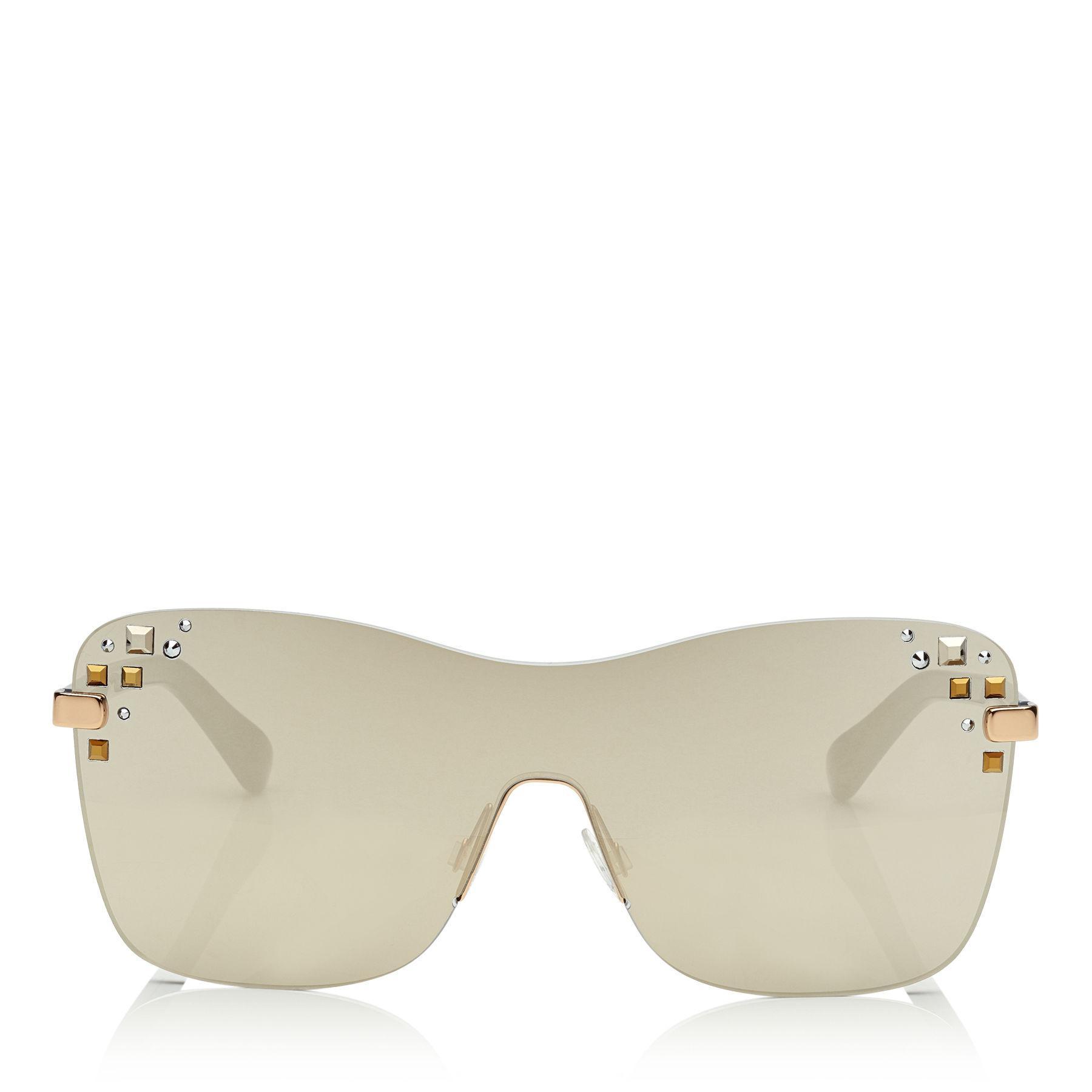 Jimmy Choo Masks Mirrored Swarovski® Shield Sunglasses