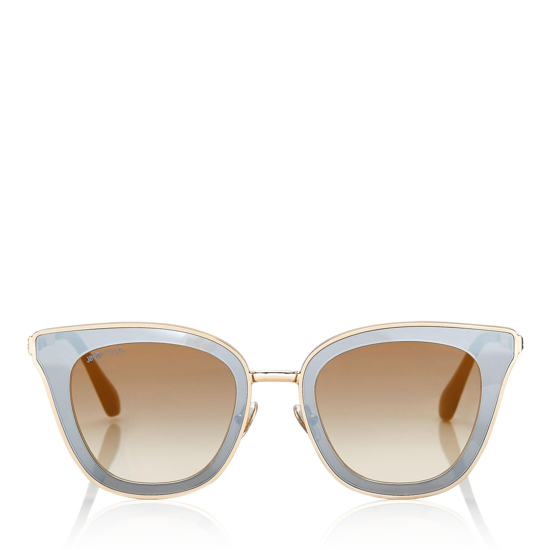 88250661877 Lyst - Jimmy Choo Lory Black And Gold Cat-eye Sunglasses With Mirror ...