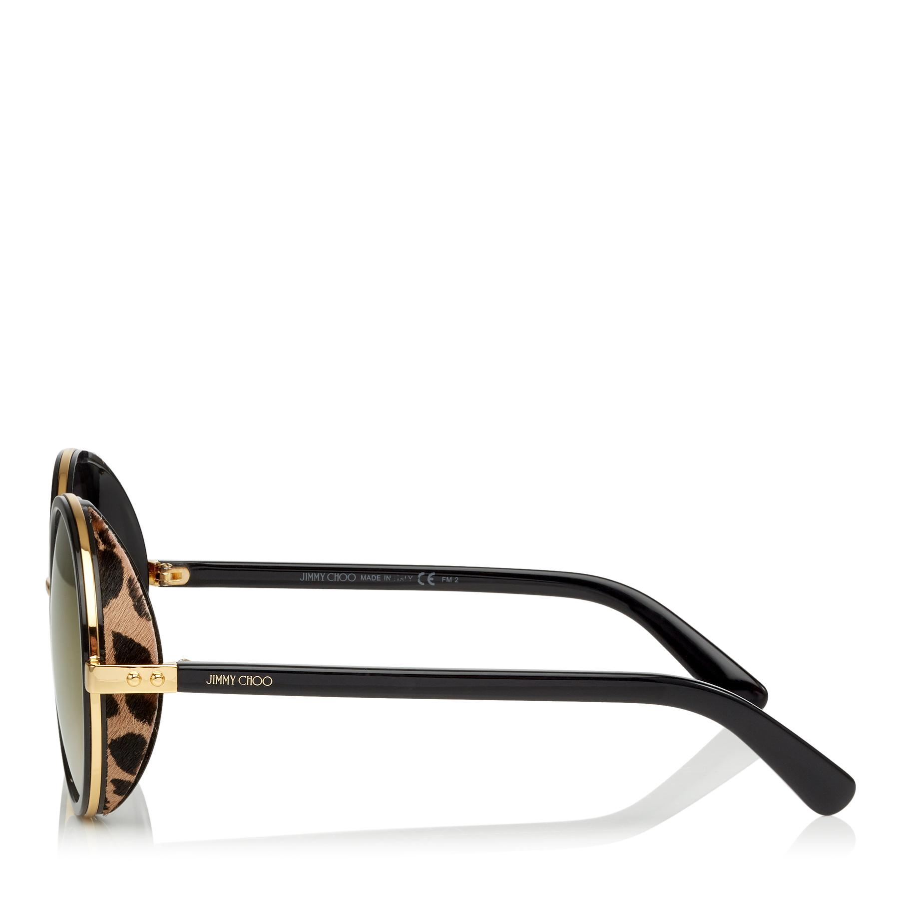a68f6d10bb1 Jimmy Choo - Multicolor Andie Black Acetate Round Framed Sunglasses With  Leapard Cavallino Leather Detailing -. View fullscreen