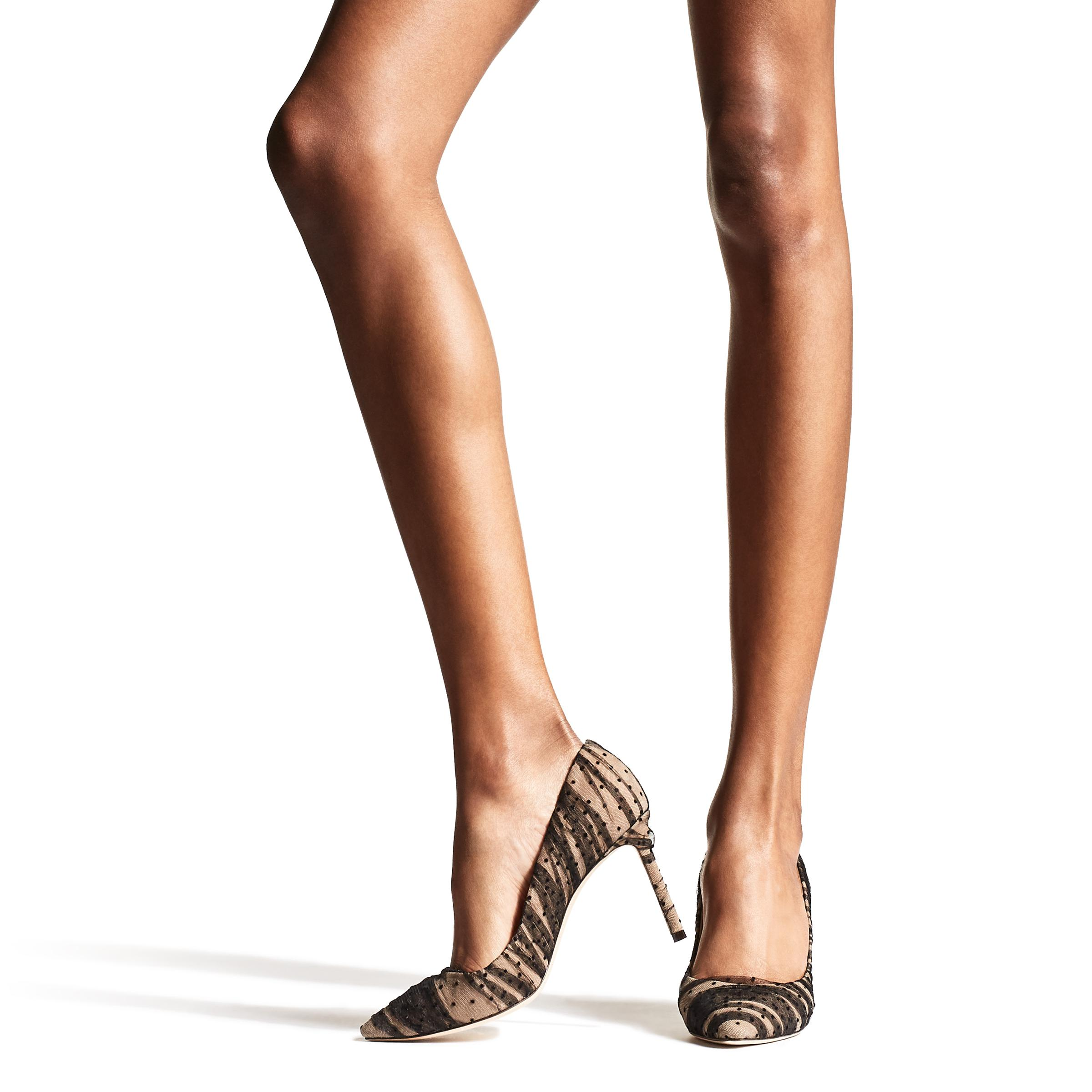 7177e8bc16 Jimmy Choo - Black Romy 100 Nude Suede Pointy Toe Pumps With - Lyst. View  fullscreen