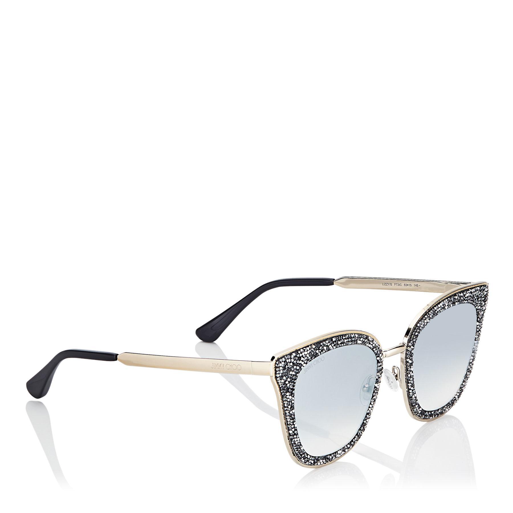 230c3e6c3edc Jimmy Choo - Metallic Lizzy Grey And Silver Cat-eye Sunglasses With Crystal  Detailing -. View fullscreen