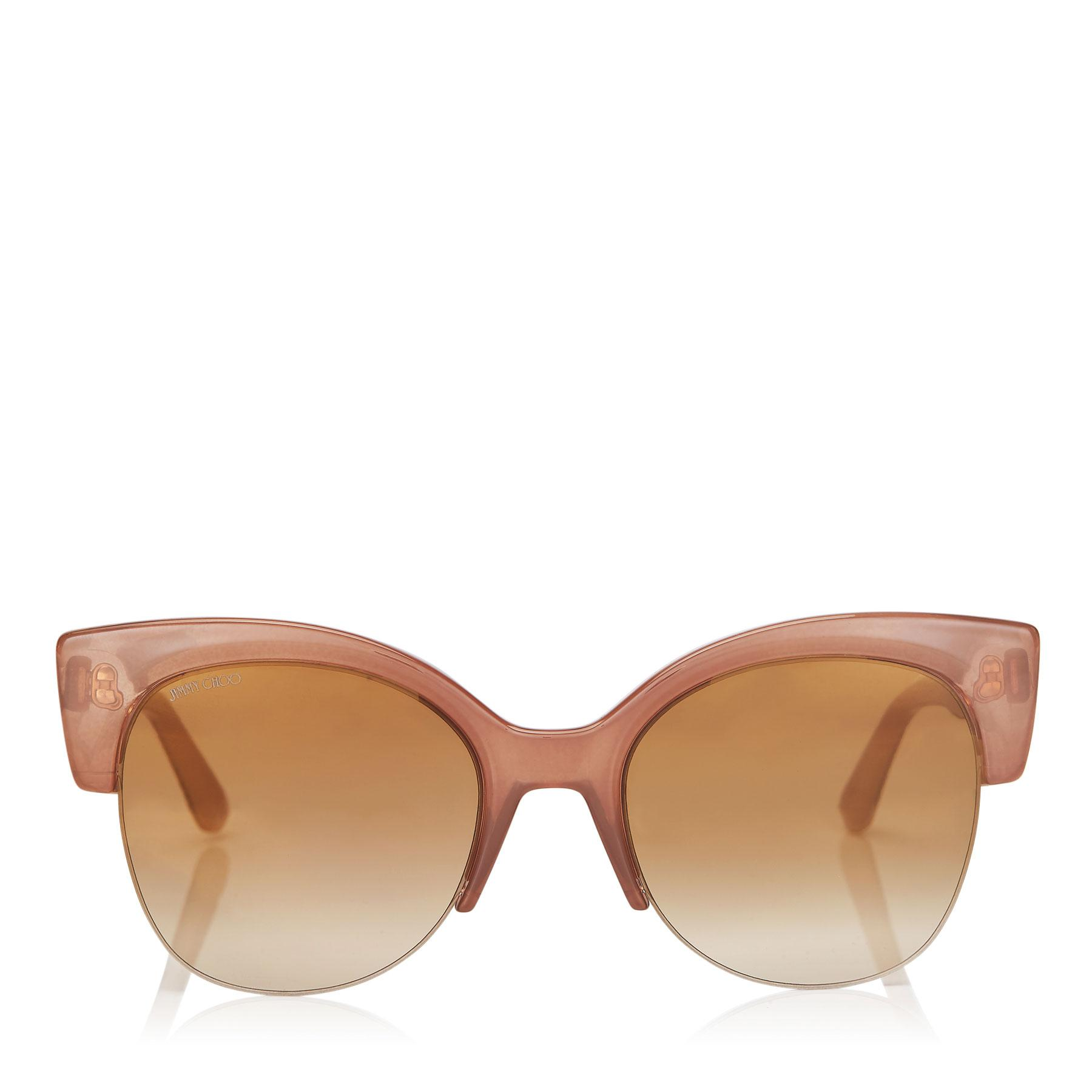 ffa9e1ca08df Jimmy Choo Priya Nude Acetate Oval Frame Sunglasses With Glitter ...