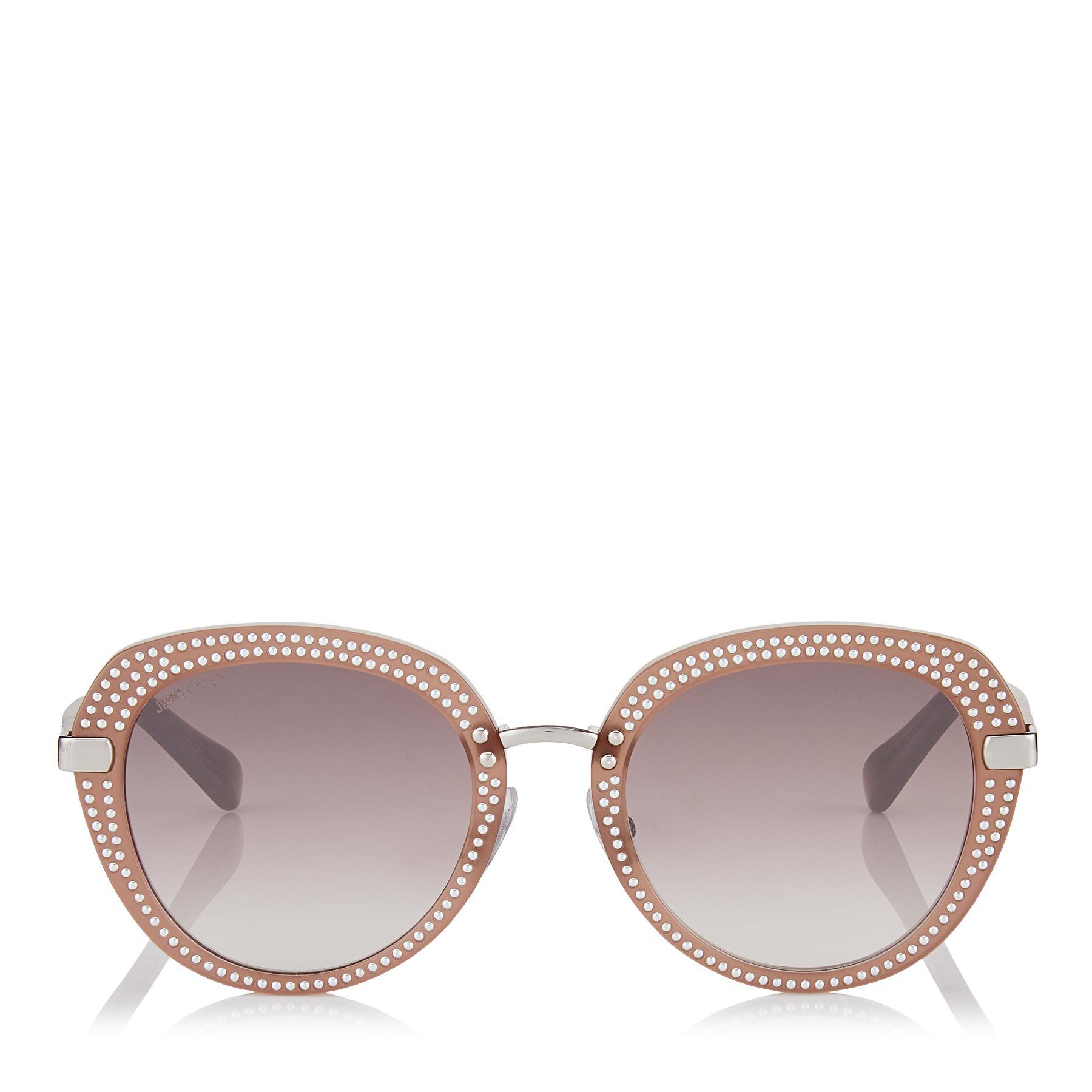e3a86ac7a568 Jimmy Choo Mori Opal Nude Acetate Sunglasses With Stud Detailing in ...