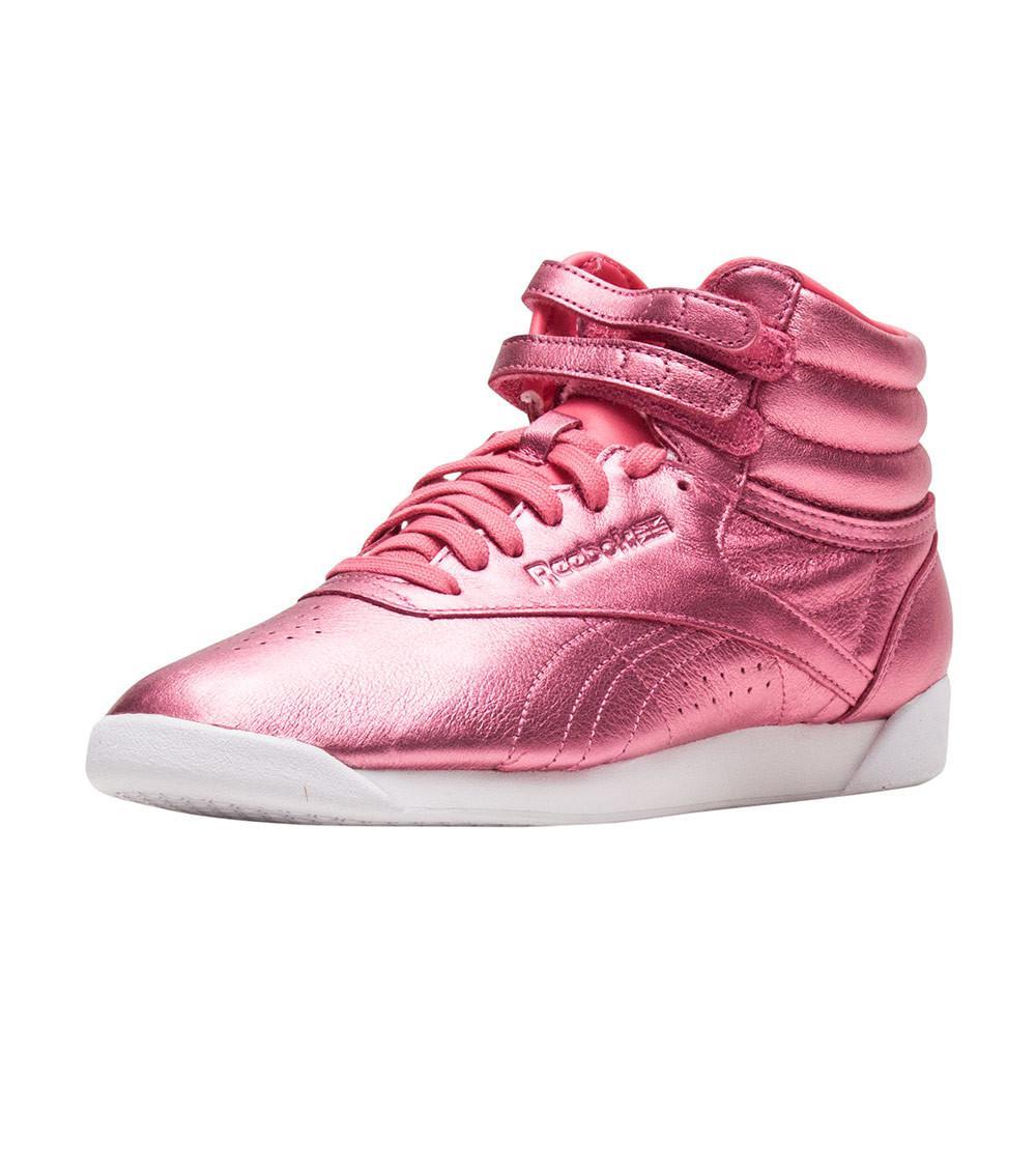 Reebok Freestyle Hi Metallic in Pink - Lyst d4884abce