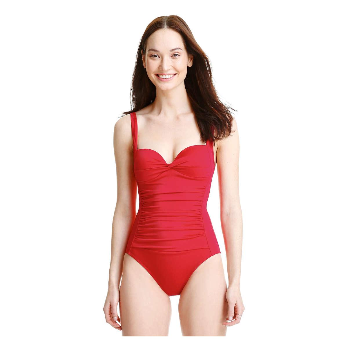 5c17e951241 Joe Fresh Red Ruched Swimsuit