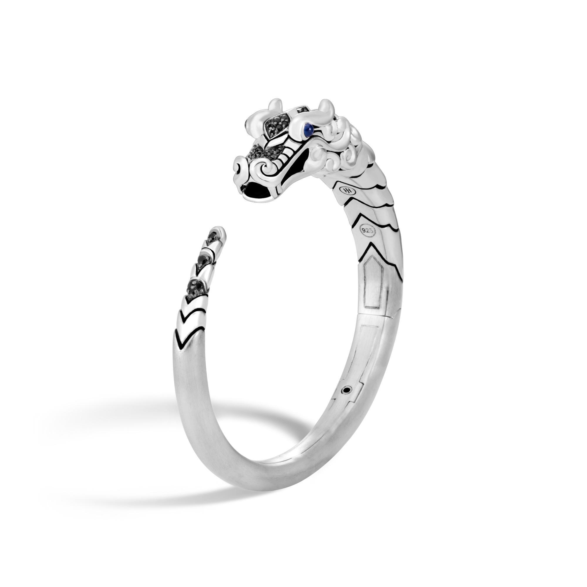 John Hardy Naga Brushed Ring With Black Sapphire, Black Spinel