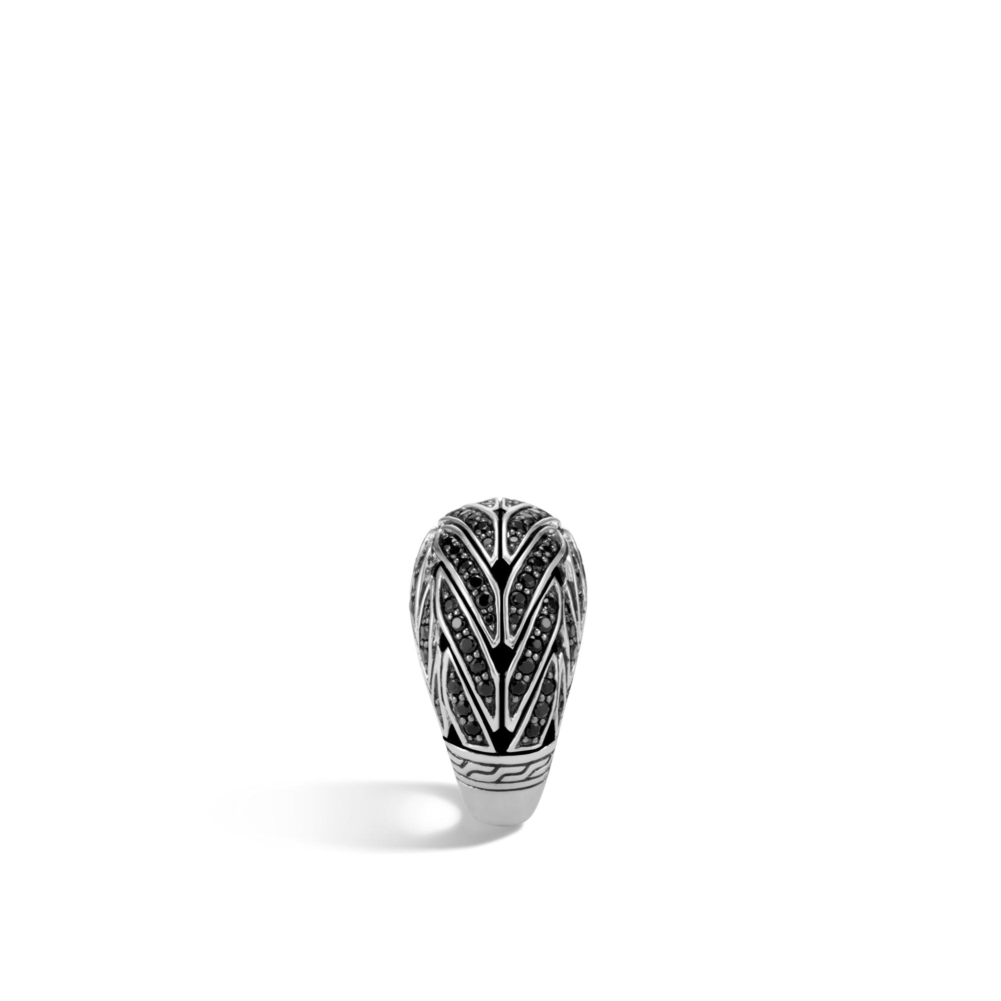 John Hardy Classic Chain Dome Ring, Black Sapphire, Black Spinel