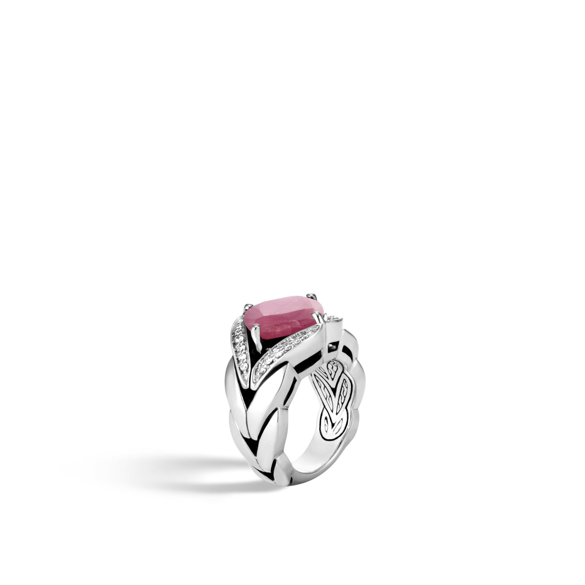John Hardy Magic Cut Ring With Pink Sheen Sapphire And Diamonds F0SVVL