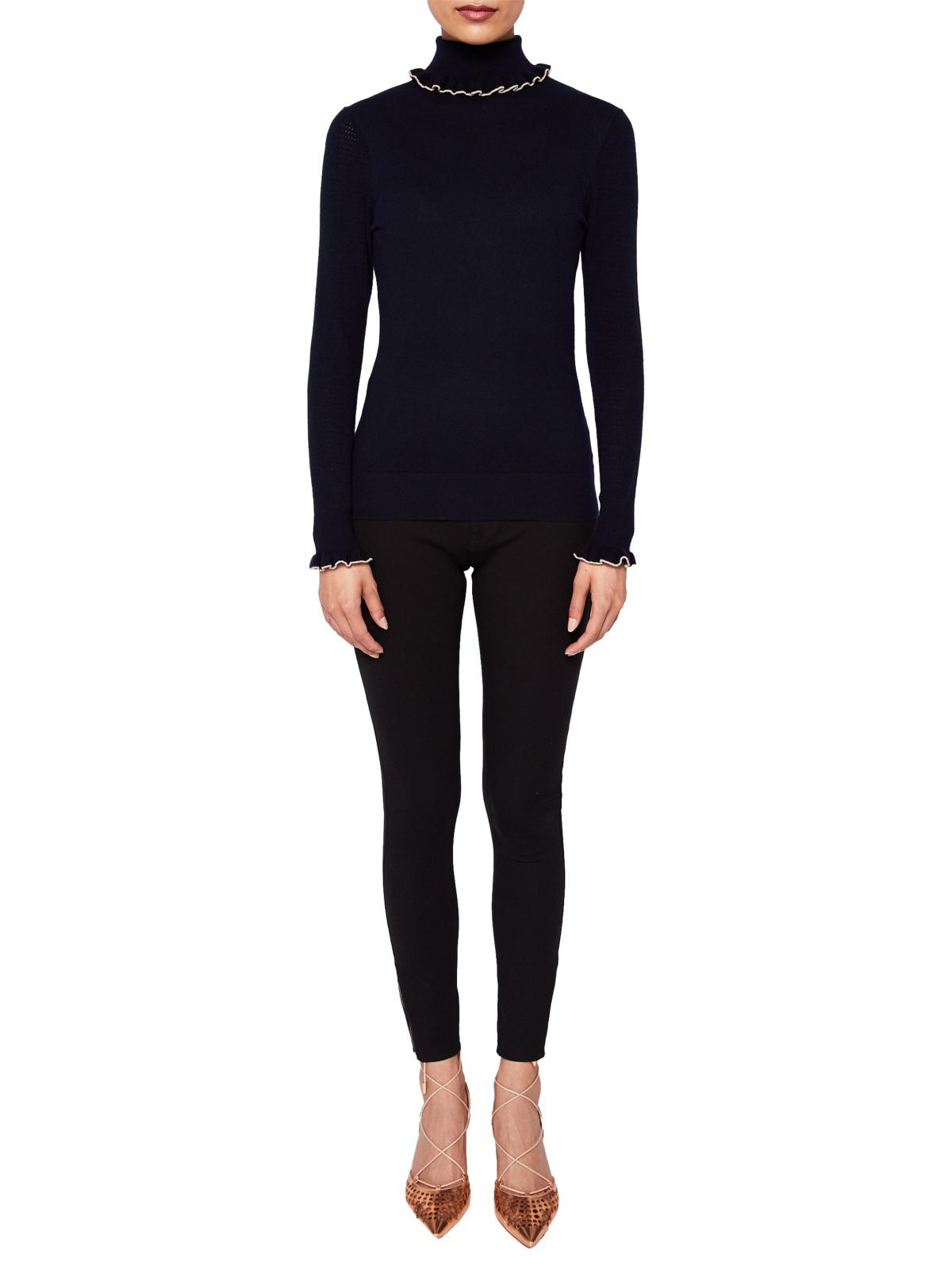 9fcb5fc0a17e Ted Baker Ceilya Frill Roll Neck Sweater in Blue - Lyst