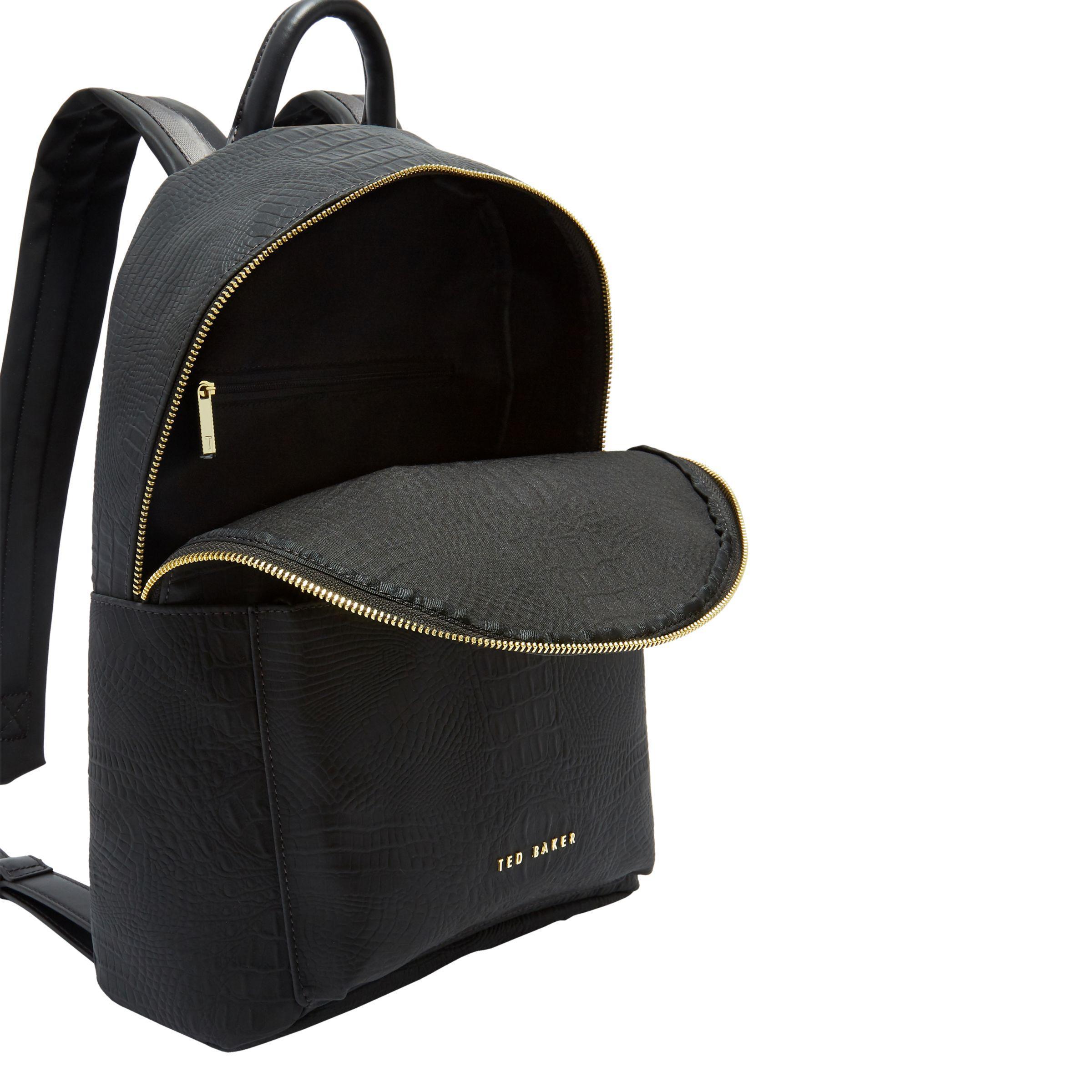 27e686ead72c Ted Baker Creaala Leather Croc Effect Backpack in Black - Lyst