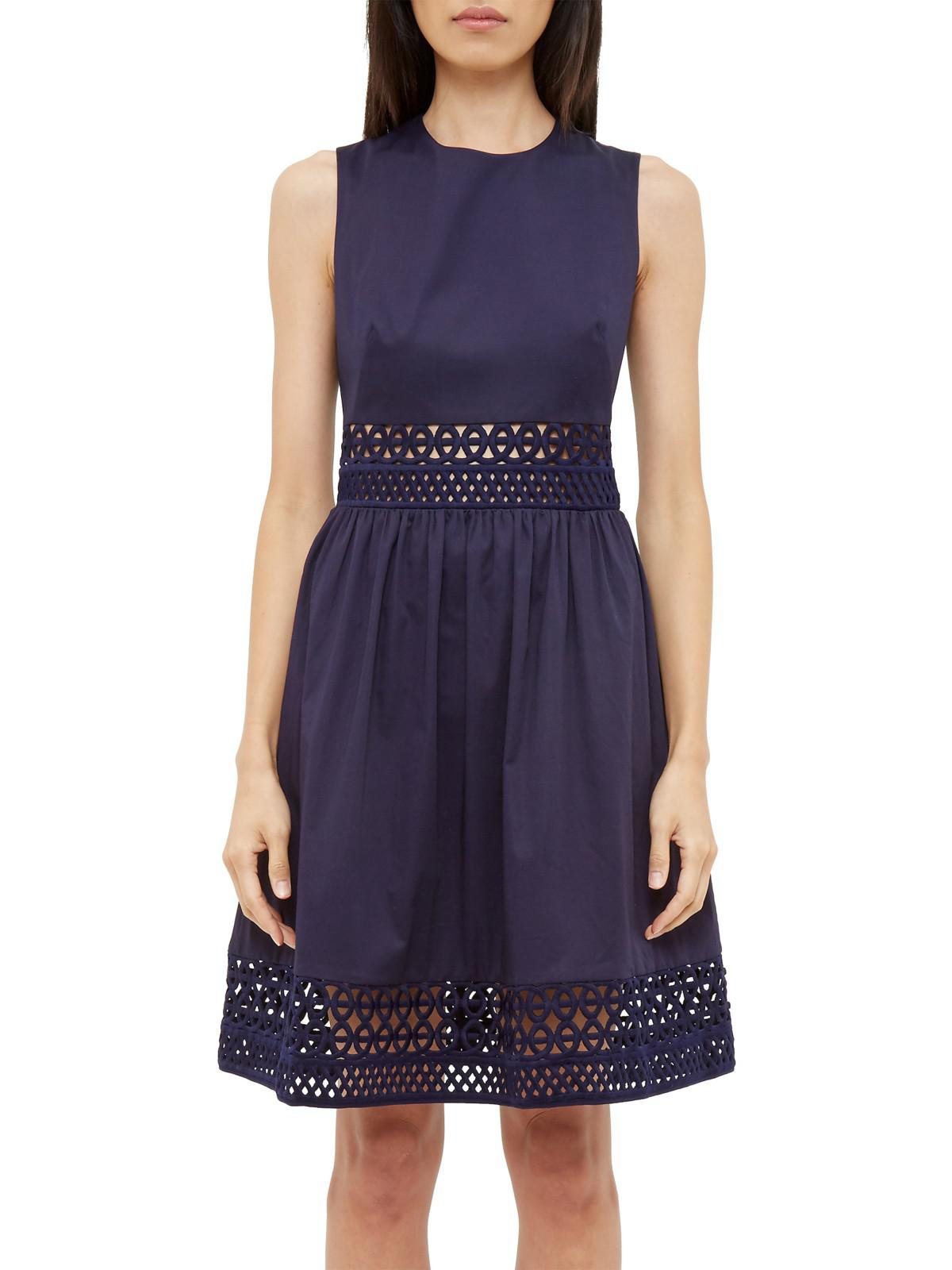 3f8ac0e56c2d John Lewis Ted Baker Dayzey A-line Lace Panel Dress in Blue - Lyst