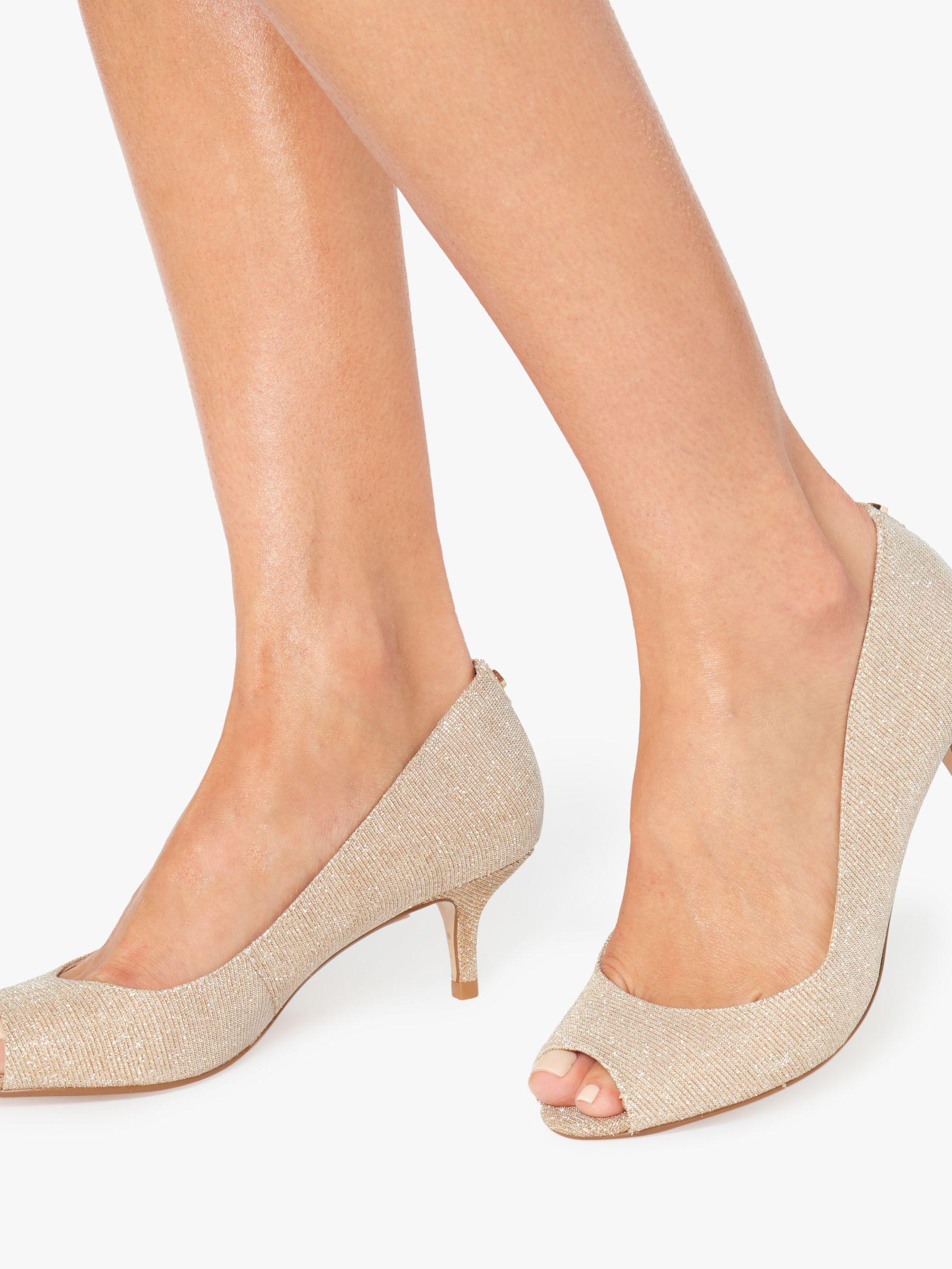 dbb8739b2e Dune Cherrie Peep Toe Kitten Heel Sandals in Metallic - Lyst