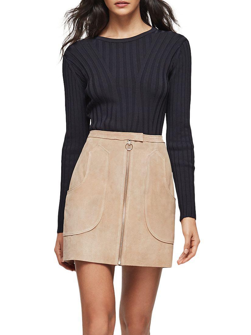 a3f0daa471 Reiss Keaton Suede Mini Skirt in Blue - Lyst