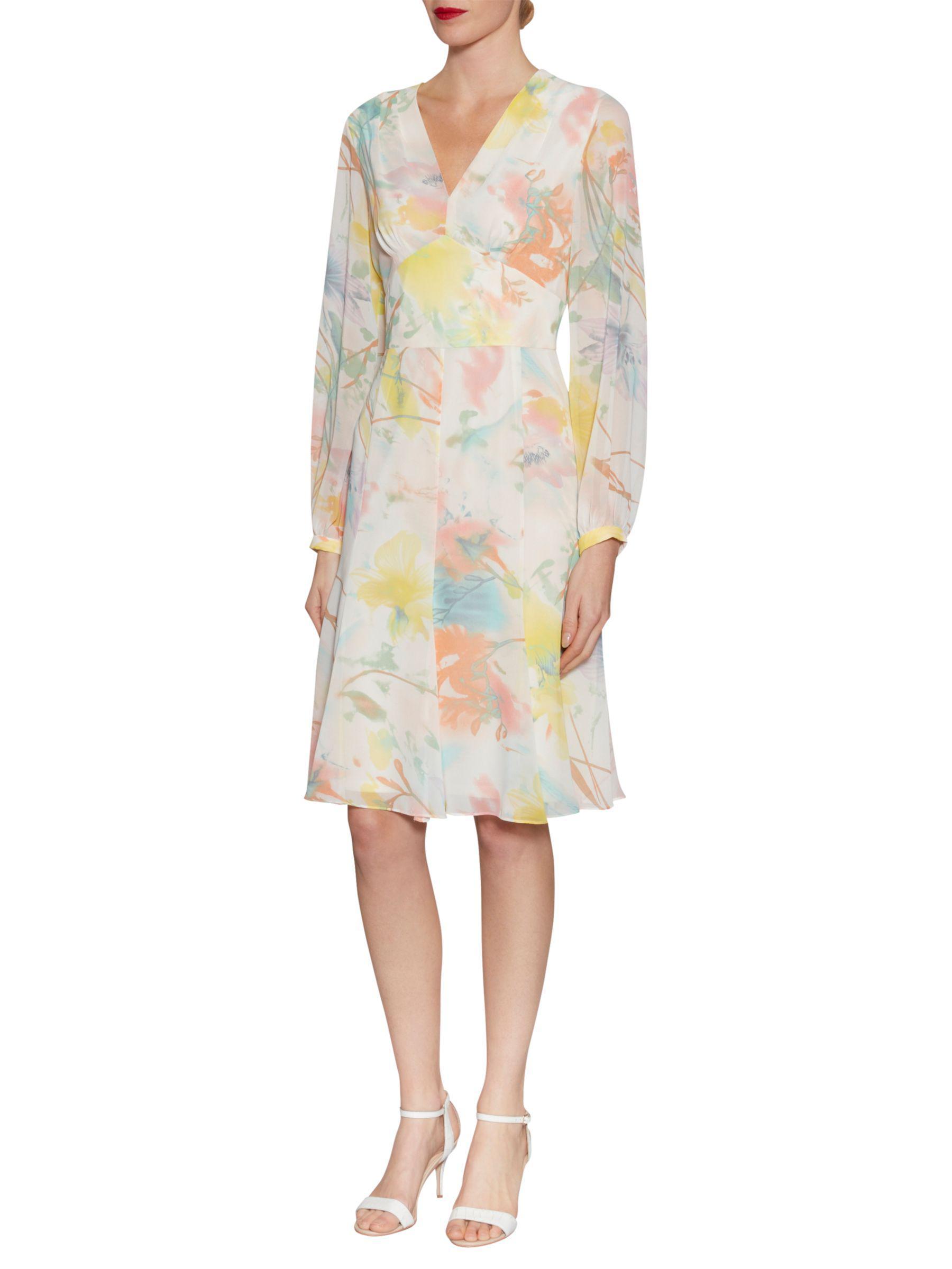John Lewis Gina Bacconi Watercolour Floral Print Chiffon Dress in Yellow