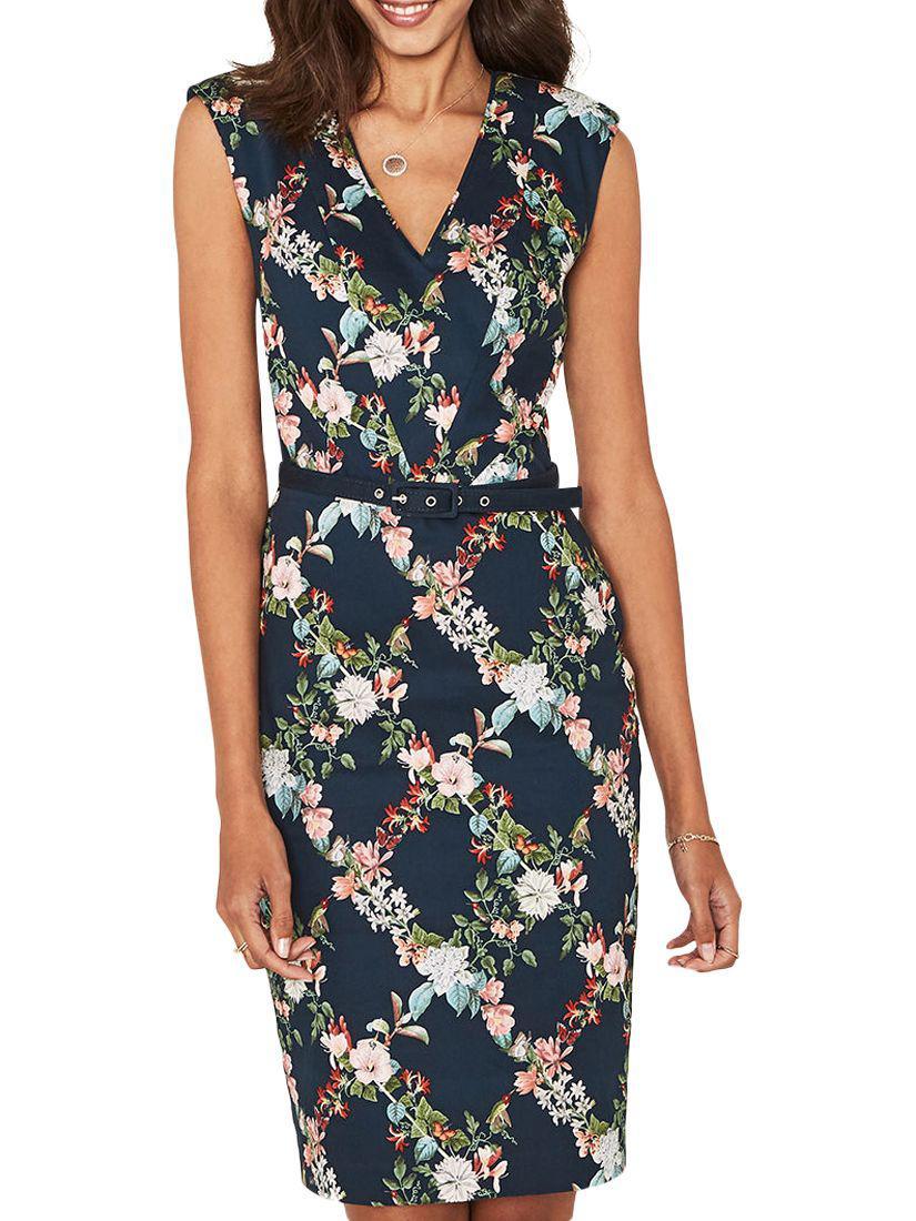 81ef1e15c77a Oasis Fitzwilliam Floral Pencil Dress in Blue - Lyst