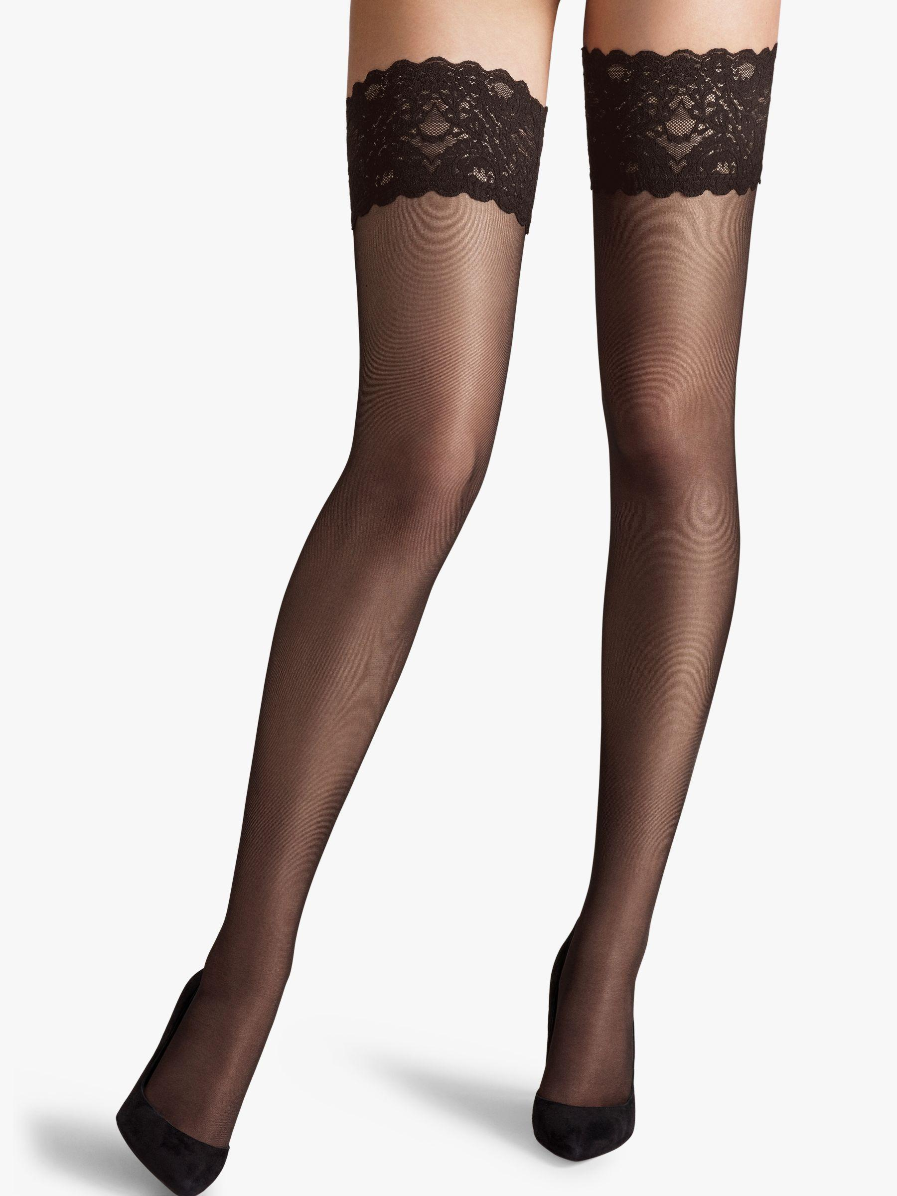 5313c59c2 Wolford Satin Touch 20 Denier Stay Ups in Black - Lyst