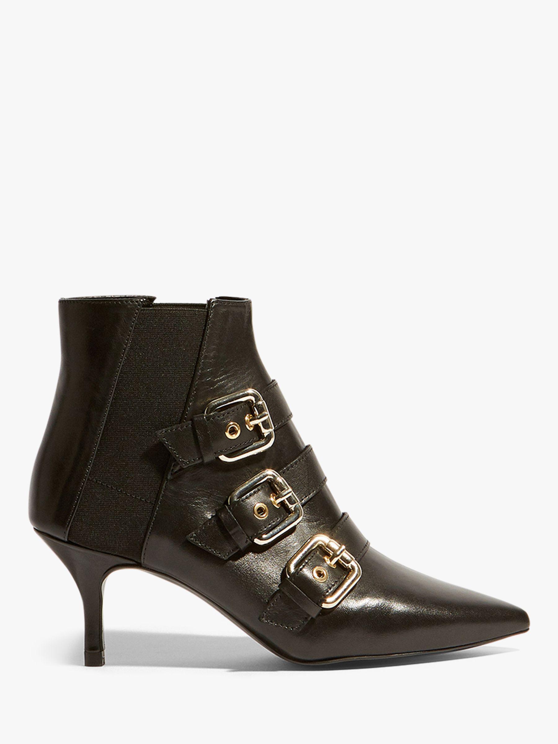 Karen Millen Leather Buckle Detail Kitten Heel Ankle Boots in Black Leather (Black)