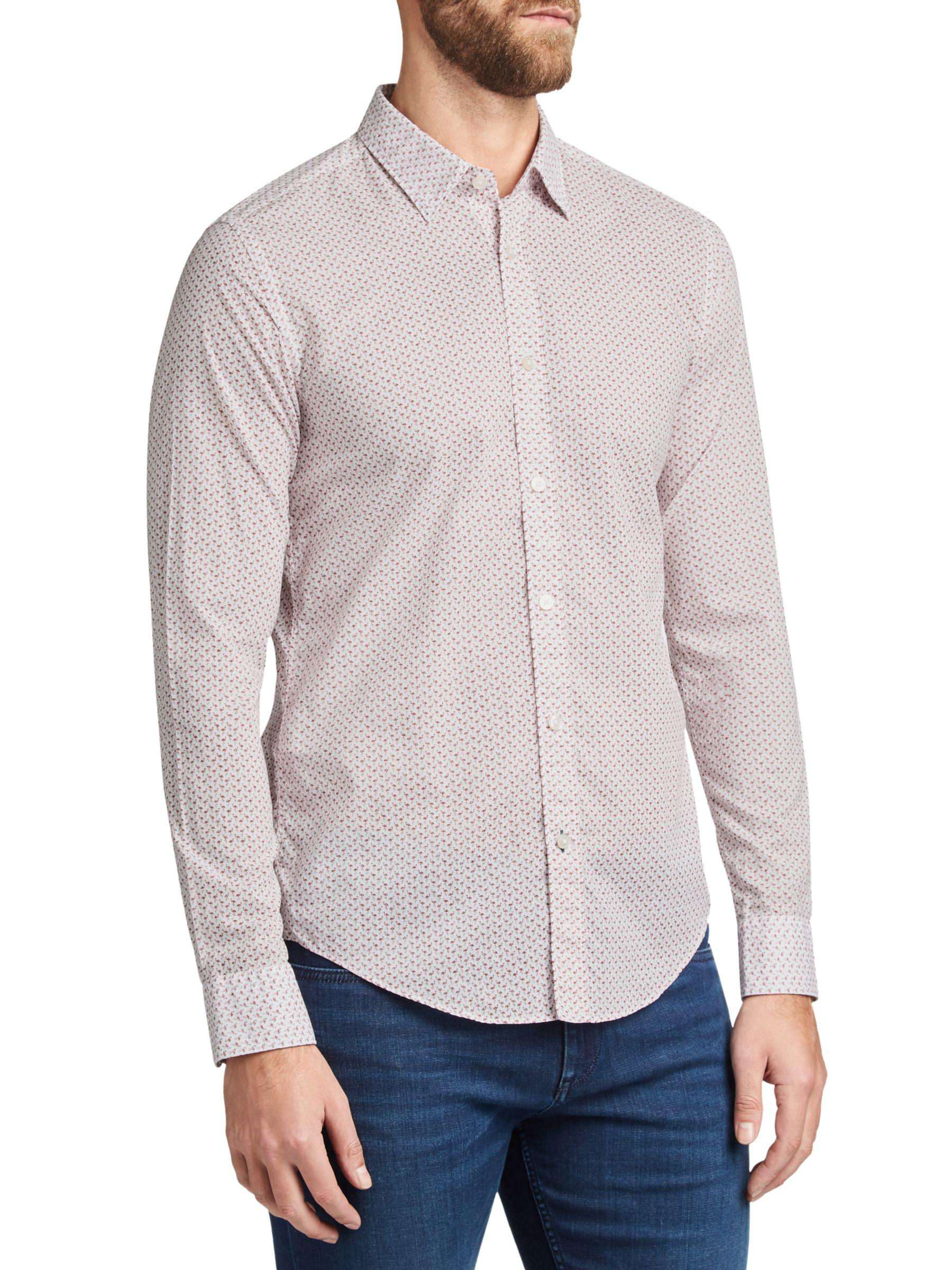 3e9c6ee3 BOSS Boss Ronni Abstract Print Slim Fit Shirt in Gray for Men - Lyst