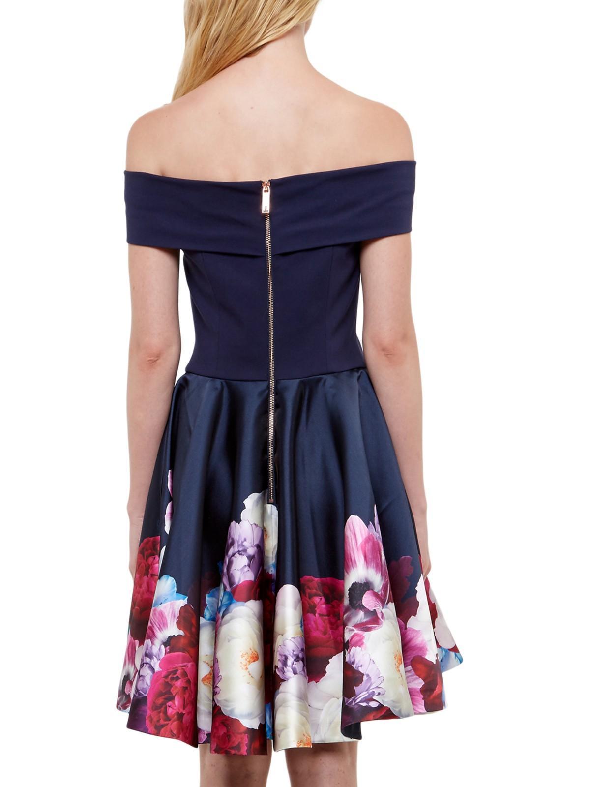 Lyst Ted Baker Nersi Blushing Bouquet Bardot Dress In Blue