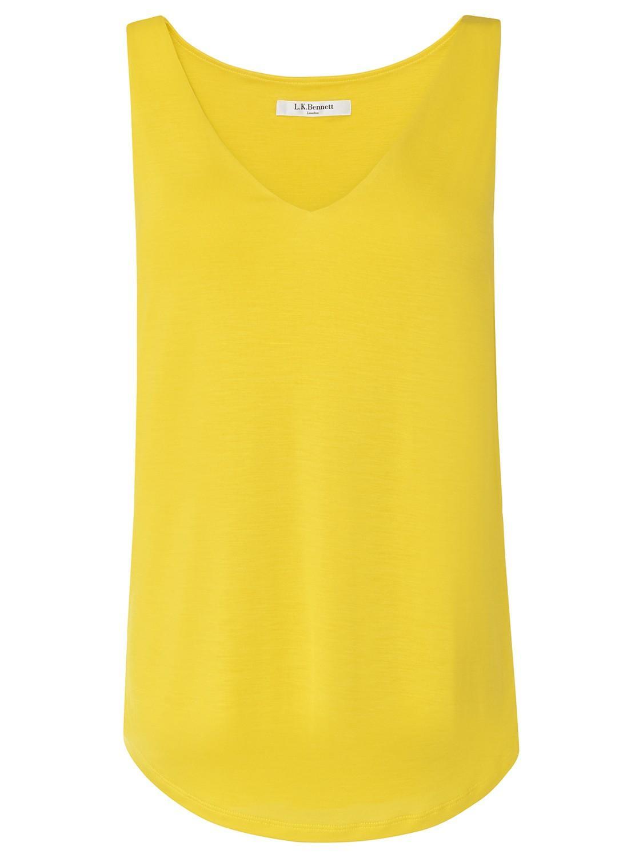 L.k.bennett Ada Sleeveless V-neck Jersey Top in Yellow