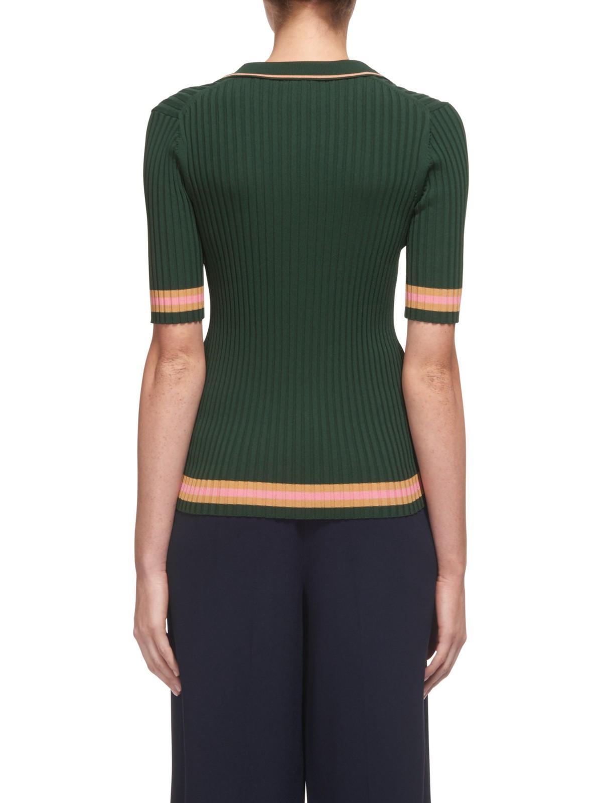 Whistles Denim Tipped Stripe Polo Shirt in Dark Green (Green)