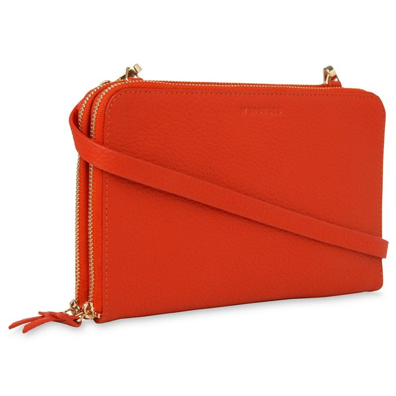 Whistles Leather Union Double Zip Across Body Bag in Red