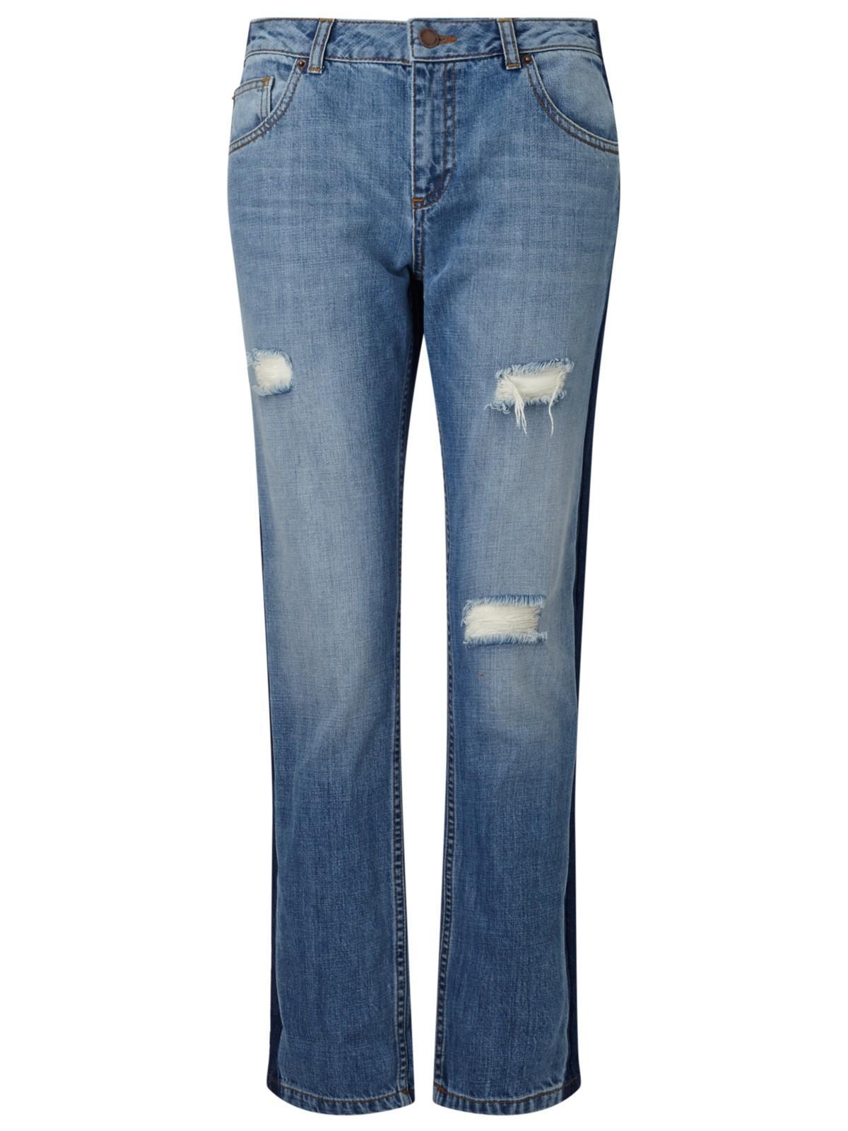 Miss Selfridge Denim Kitty Tonal Panel Distressed Boyfriend Jeans in Mid Wash Denim (Blue)