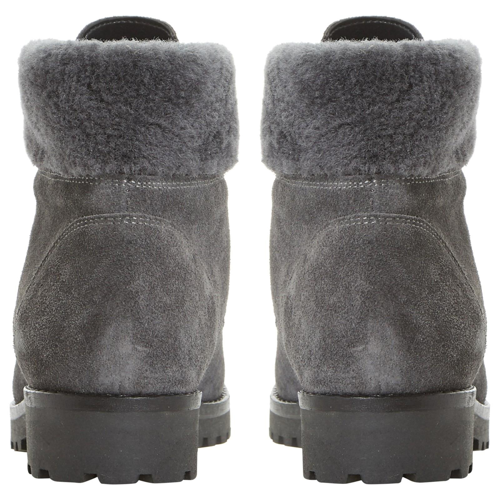 Dune Perrinn Cleat Sole Fur Lace Up Ankle Boots in Grey (Grey)