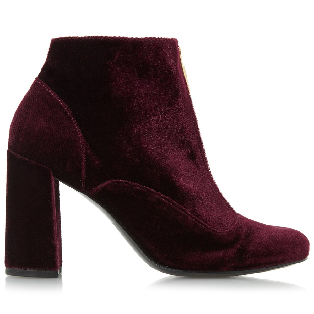 Dune Leather Oldwych Zip Block Heeled Ankle Boots