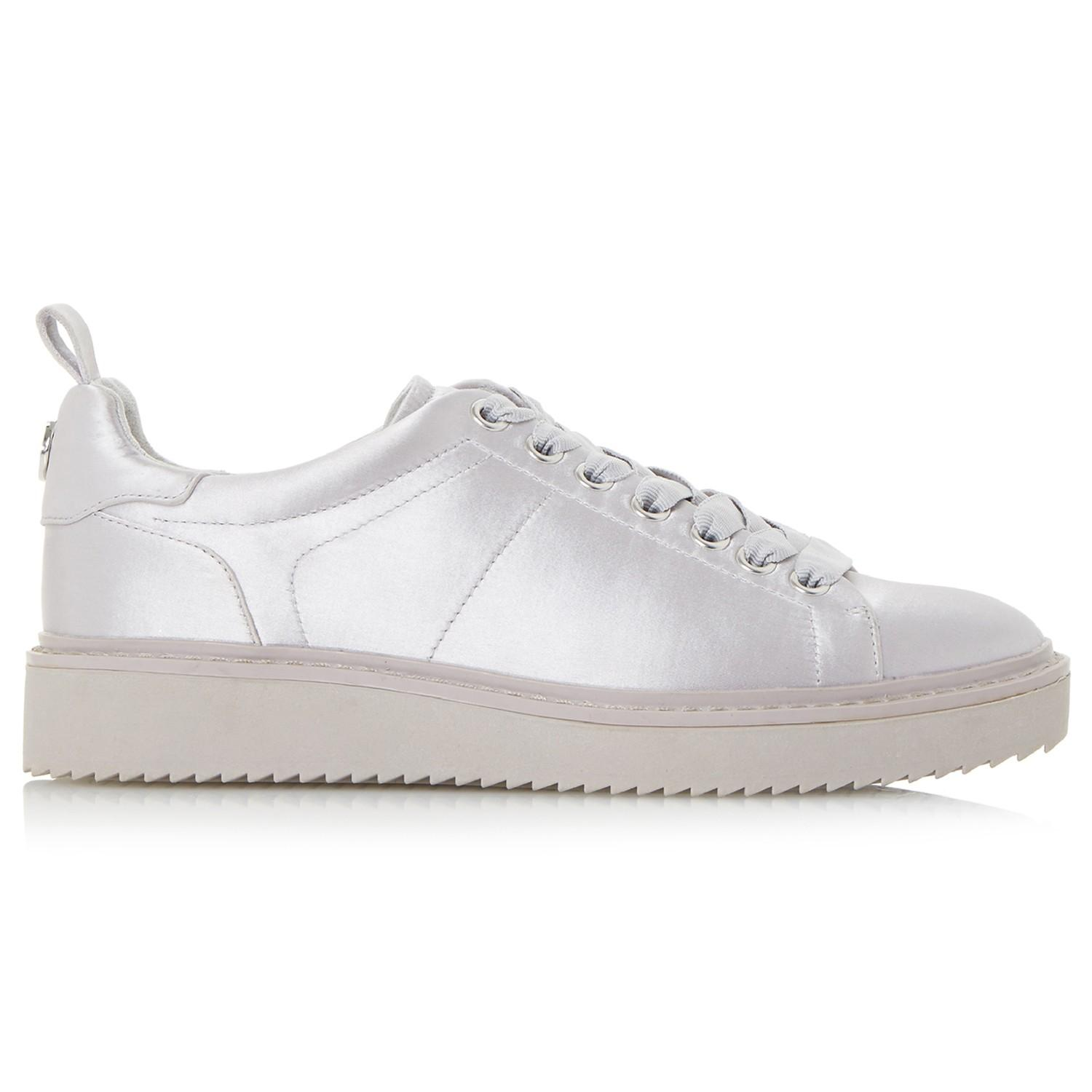 Dune Satin Etch Lace Up Trainers in Grey (Grey)