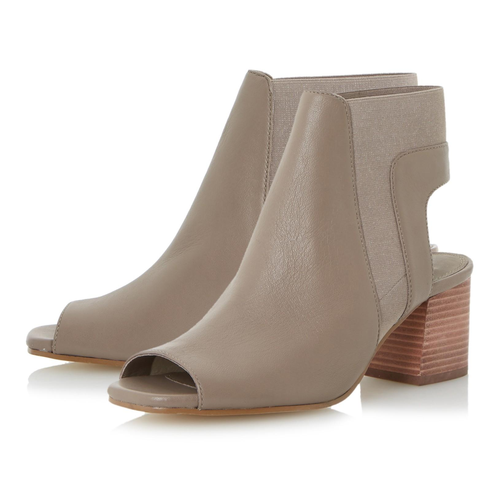 Dune Leather Jericho Block Heeled Sandals in Taupe (Brown)