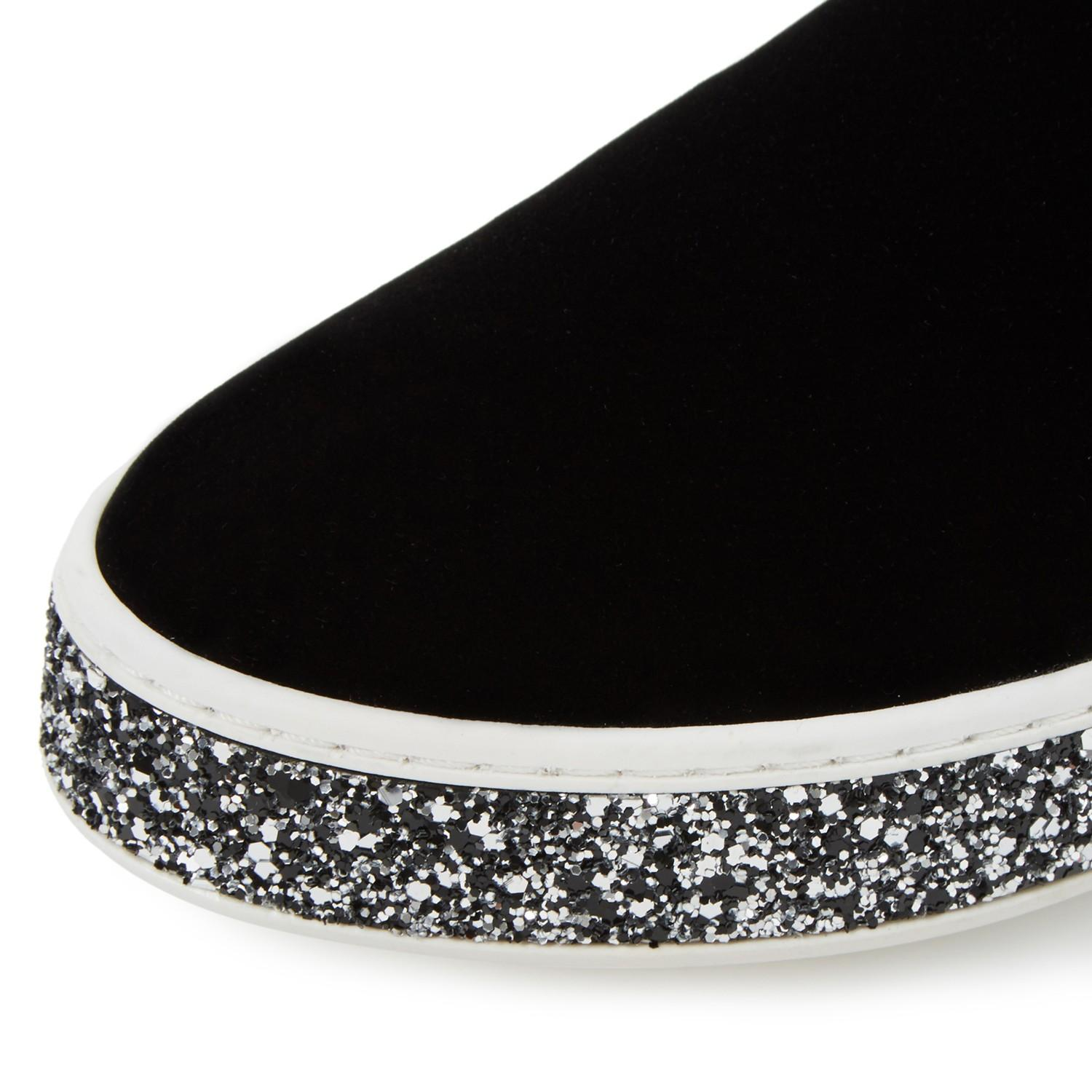 Dune Denim Exchange Glitter Sole Slip On Shoes in Black