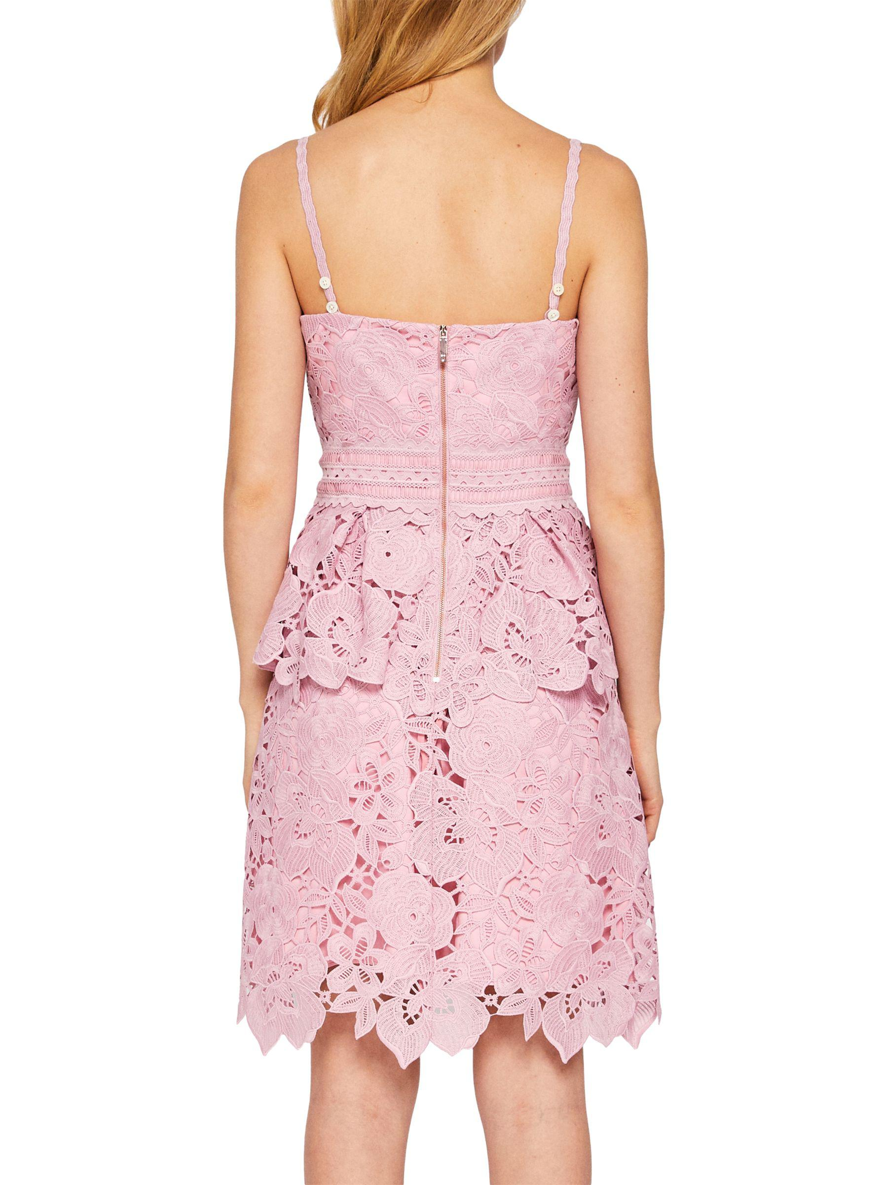 2ce1661e1b Ted Baker Nadiie Lace Peplum Dress in Pink - Save 40% - Lyst