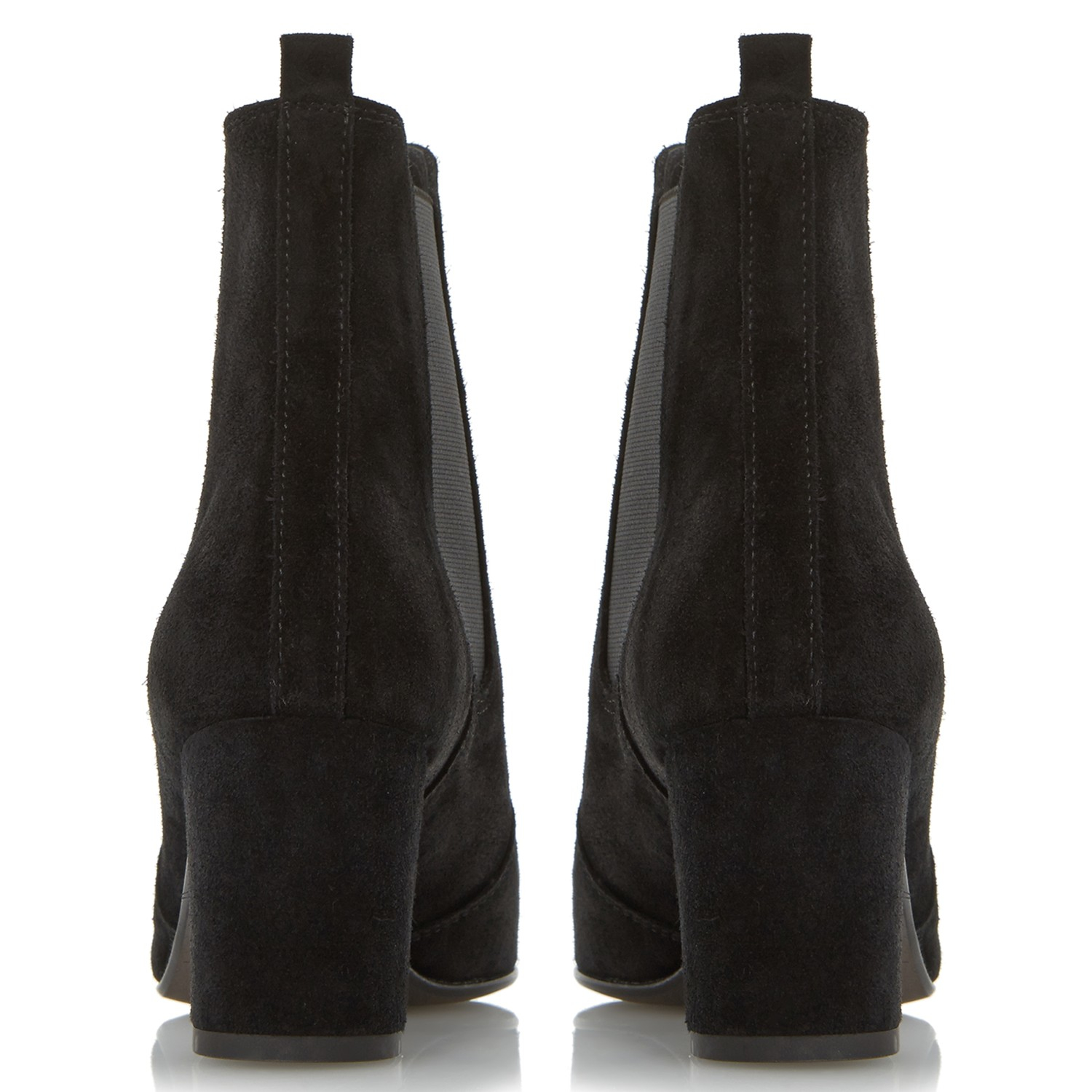 Dune Black Suede Parade Chelsea Ankle Boots in Black