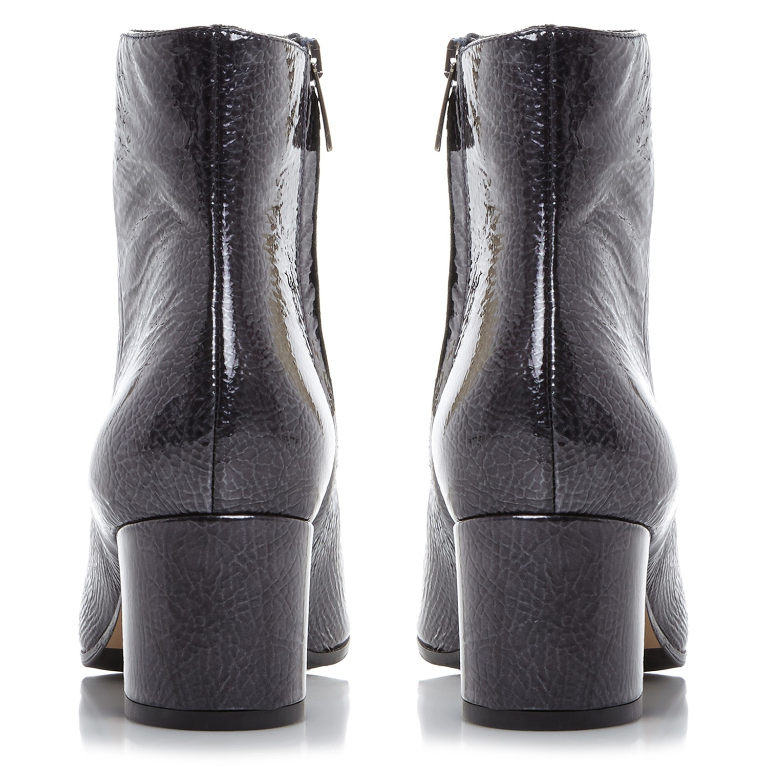 Dune Black Leather Orsen Block Heel Ankle Boots in Navy Patent (Blue)
