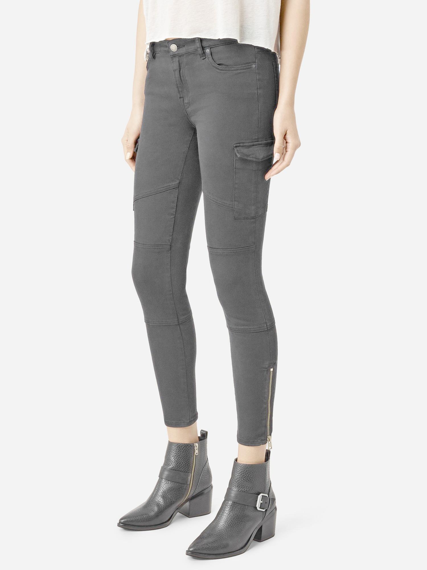 AllSaints Denim Gwen Skinny Cargo Jeans in Washed Black (Grey)