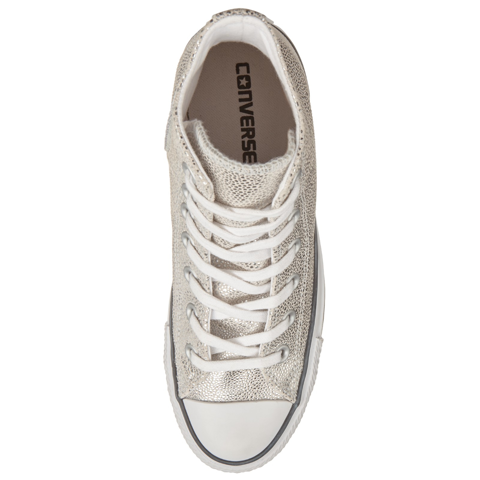 Converse Leather Chuck Taylor All Star Stingray Hi Top Trainers in Silver (Metallic)