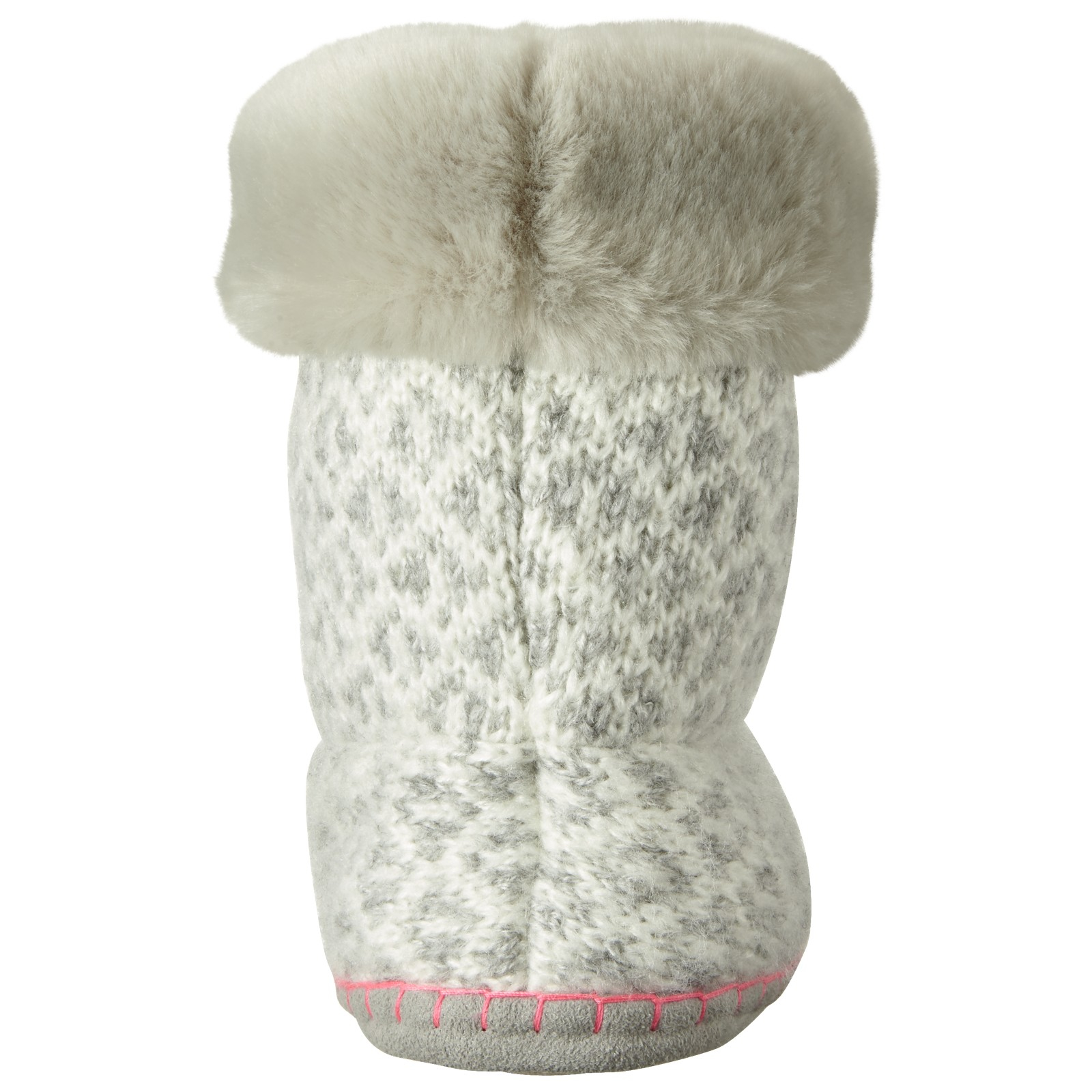 John Lewis Synthetic Fair Isle Pom Boot Slippers in Grey