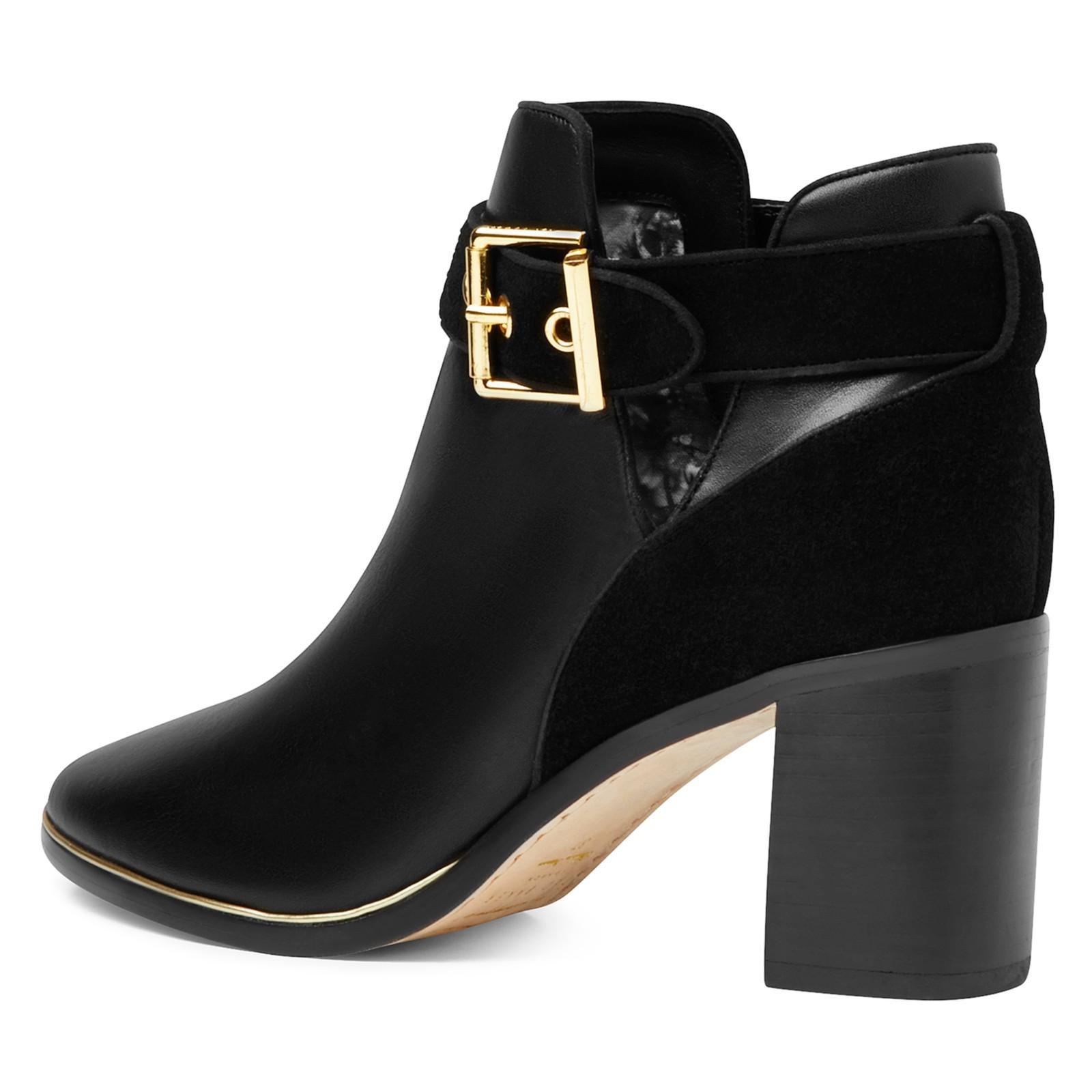 Ted Baker Suede Nissie Block Heel Ankle Boots in Black