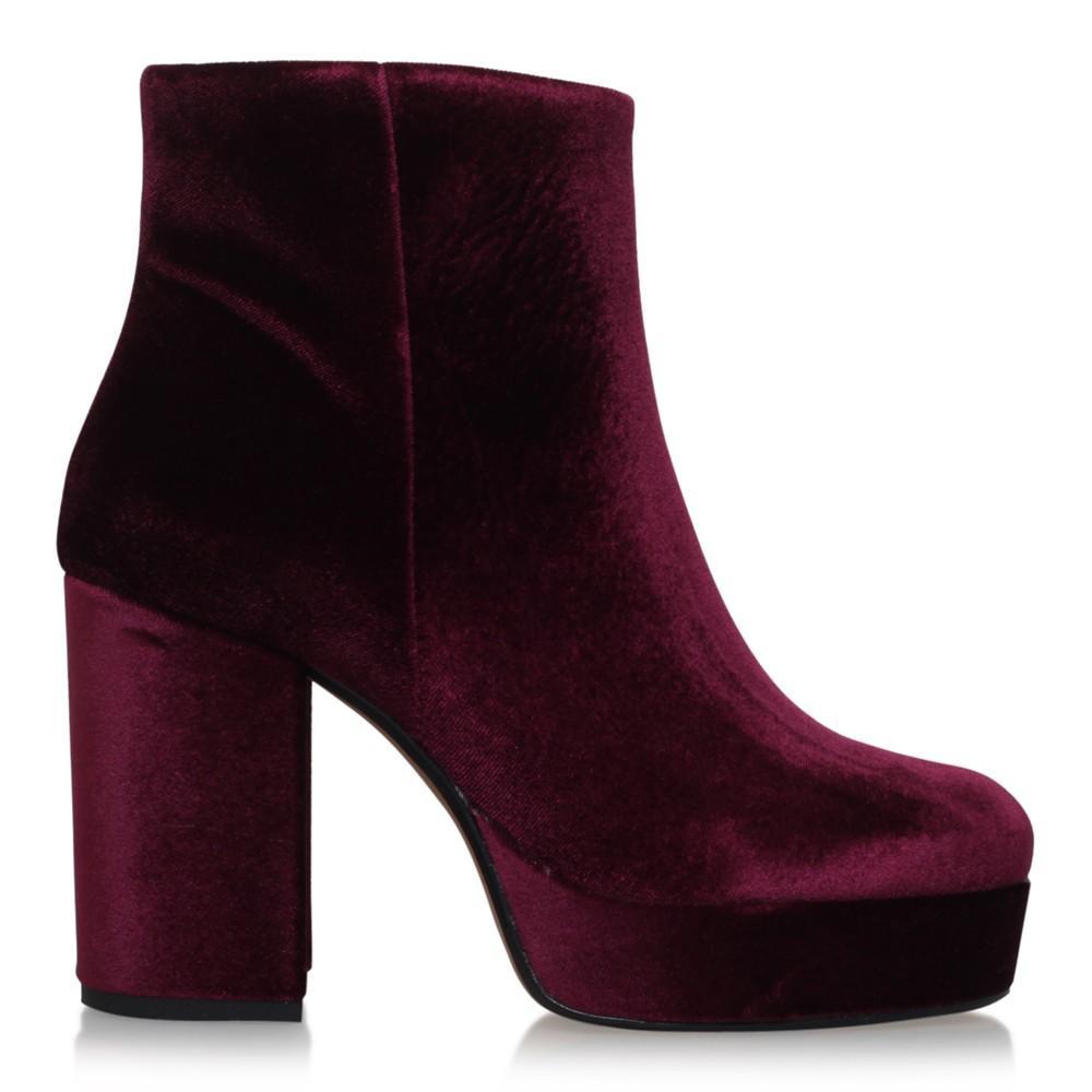 Carvela Kurt Geiger Velvet Swedish Block Heeled Platform Ankle Boots in Purple