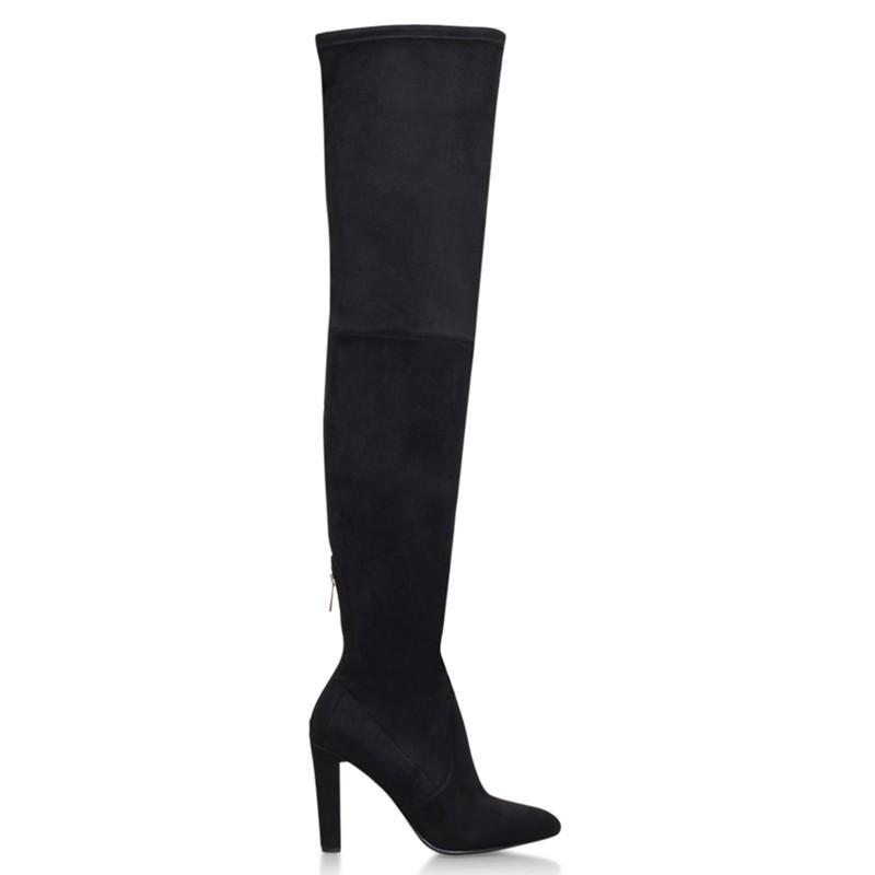 Carvela Kurt Geiger Suede Wren Cone Heeled Over The Knee Boots in Black